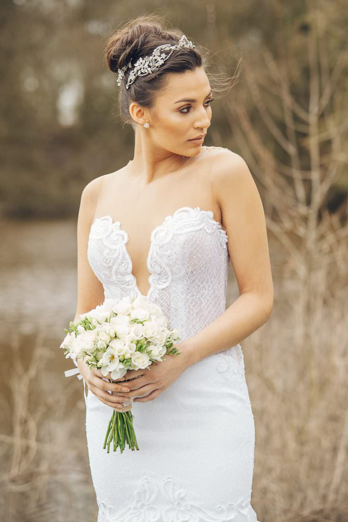 Bride wears riki dalal and Noya Bridal gown from The White Gallery ramsbottom