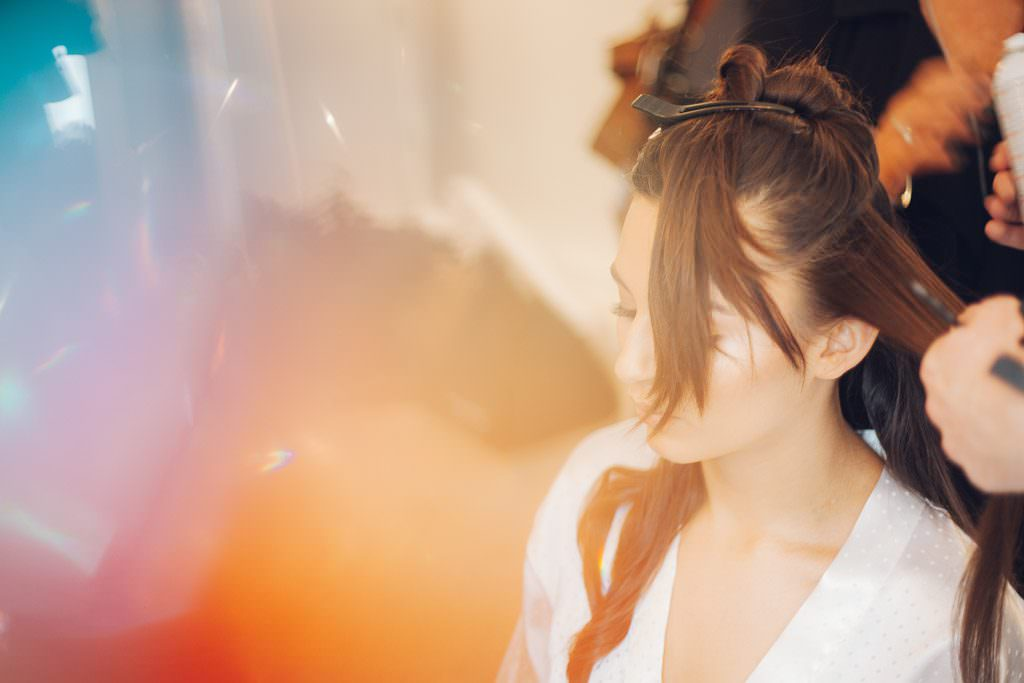 Bride in hair and make up