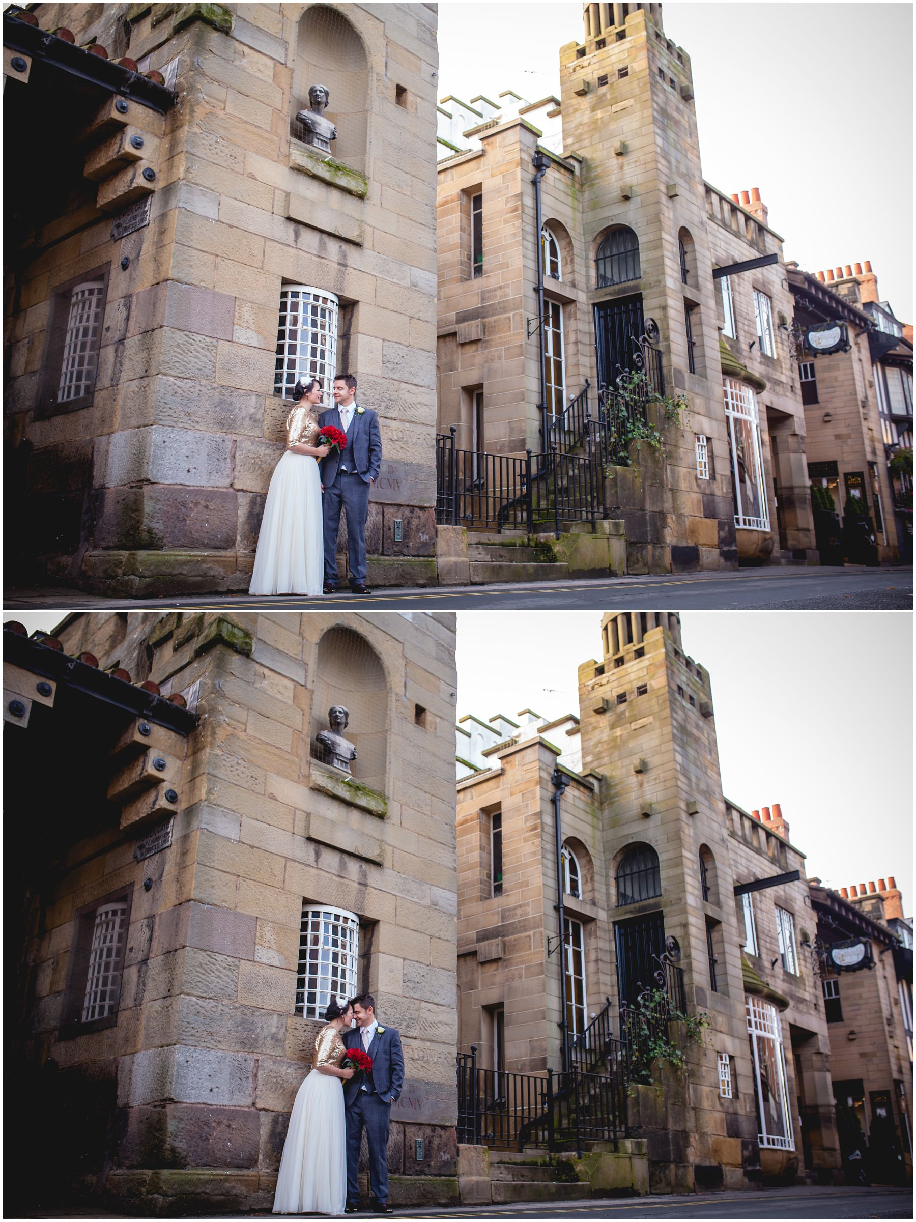 wedding photographs with a couple pictured outside the Belle Epoque