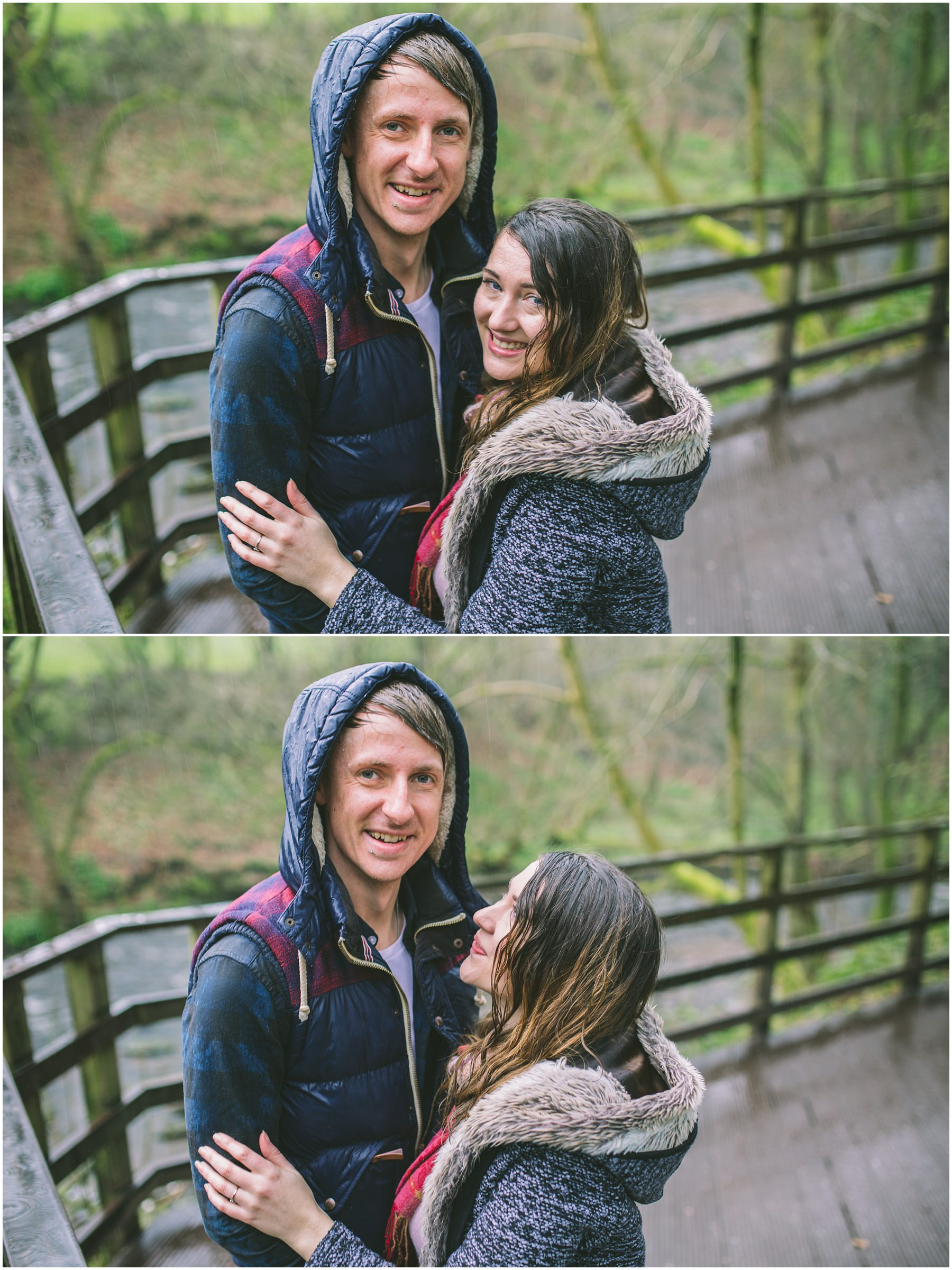a happy couple embrace in the rain at yarrow valley park