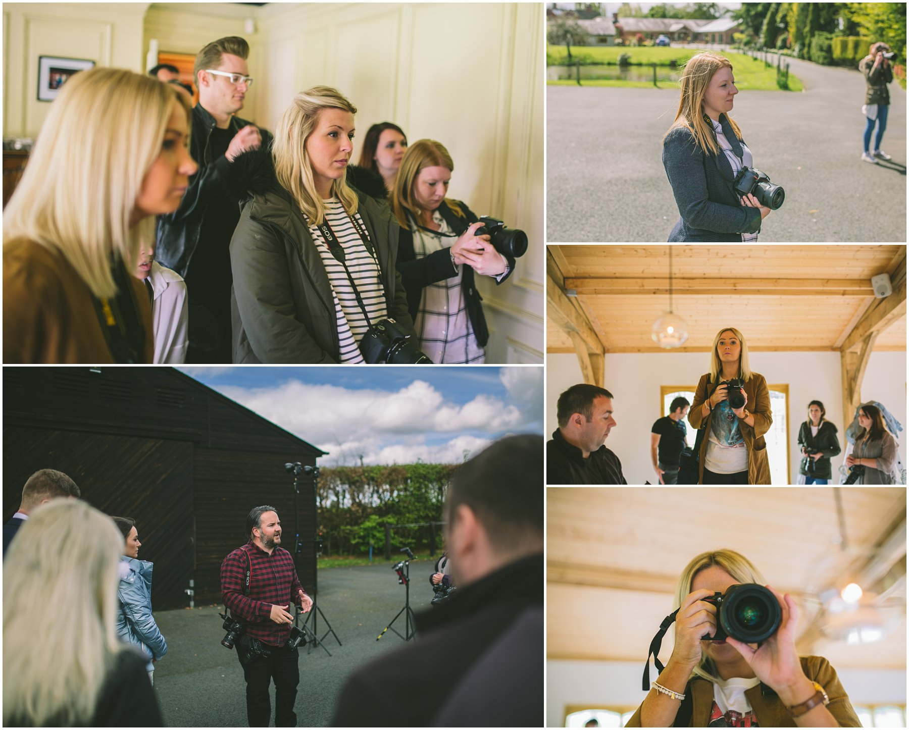 A montage of photographers learning and shooting