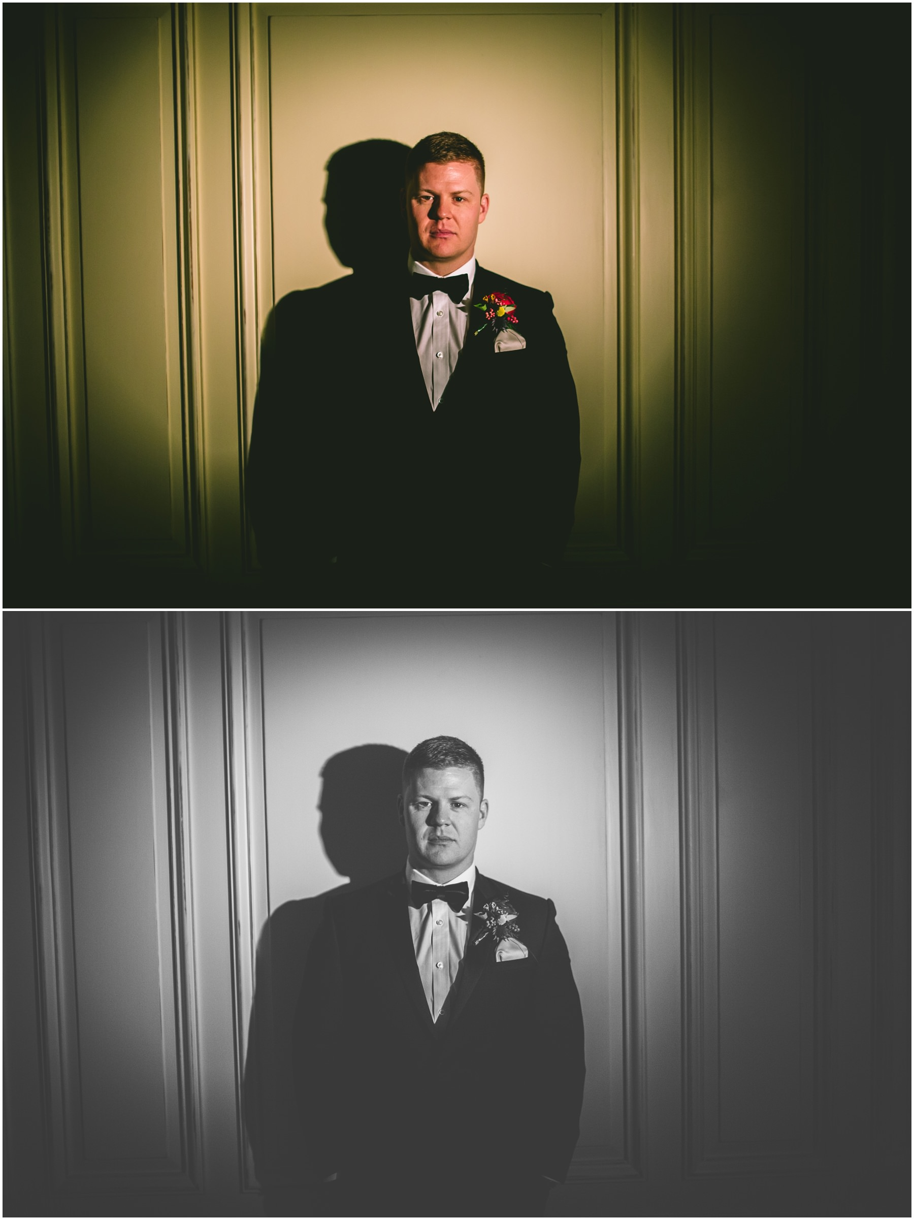 Groom portrait lit with a spot light