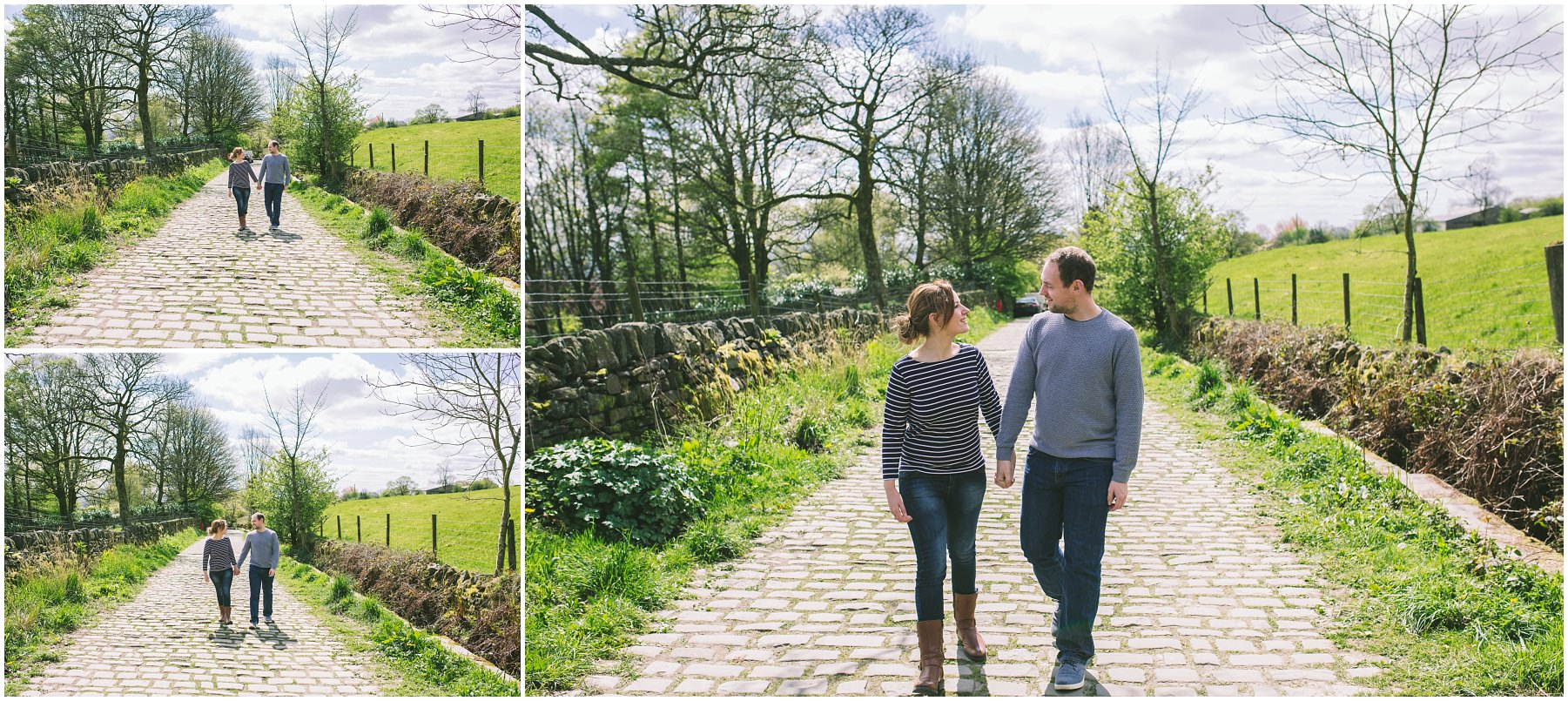 a couple hold hands and walk down a cobbled lane in Ramsbottom, Lancashire