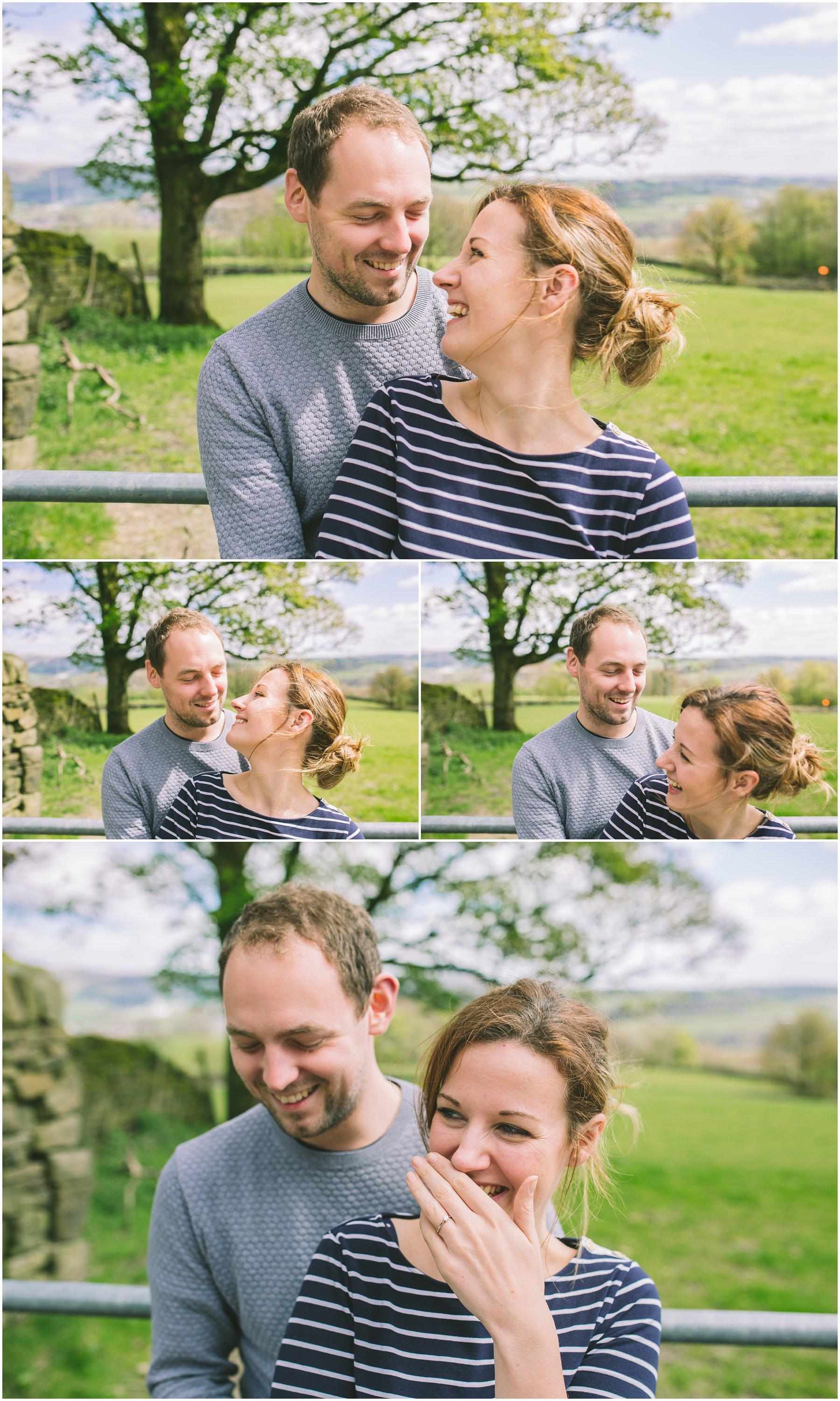 Danny and Lauren laughing on their ramsbottom engagement shoot