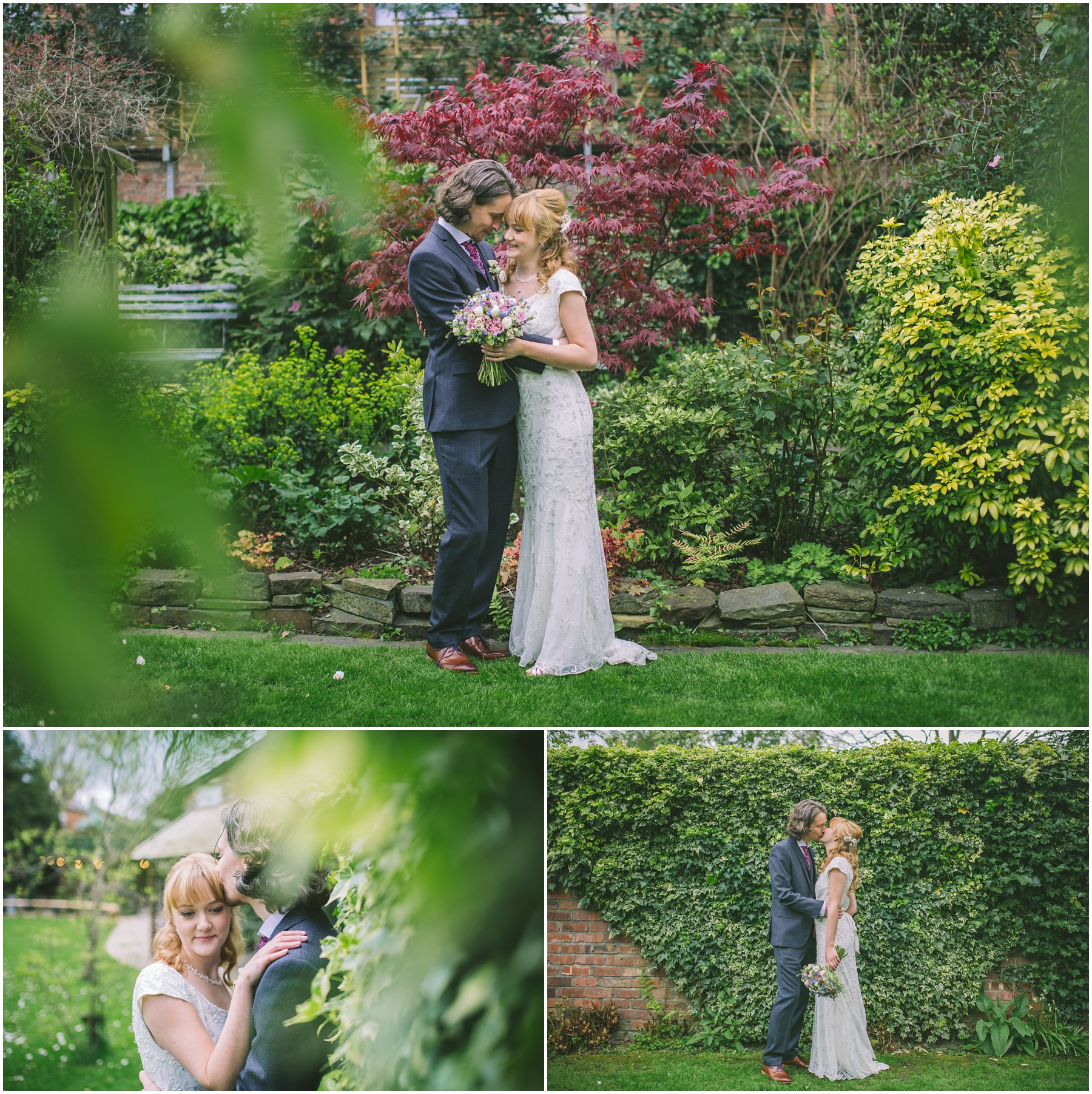 Couples portraits in the gardens at Eleven Didsbury Park