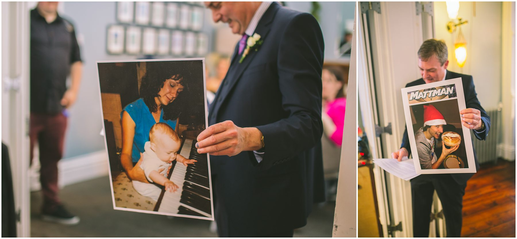 Father of the bride showing off embarrassing photos during his speech