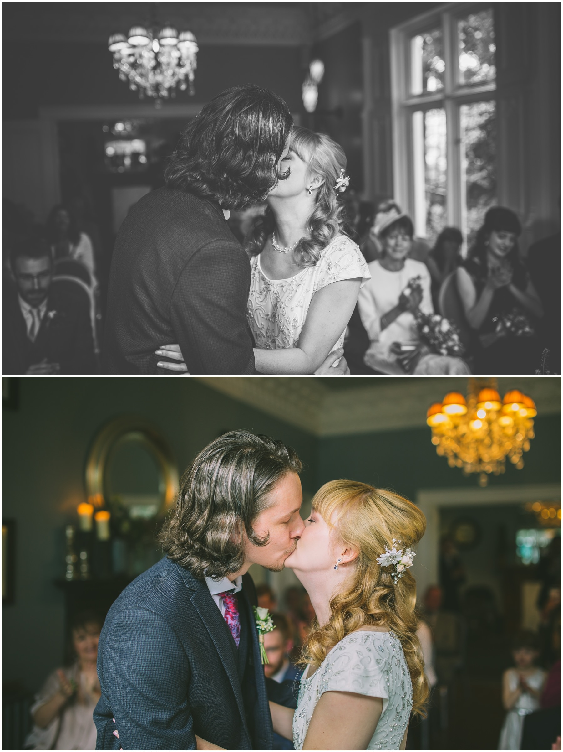 First kiss as husband and wife at Disbury House