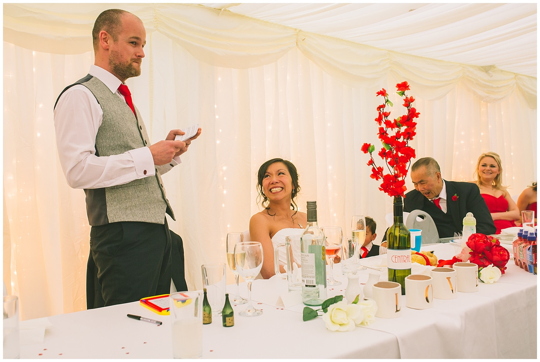 The groom speaks at Pentre Mawr