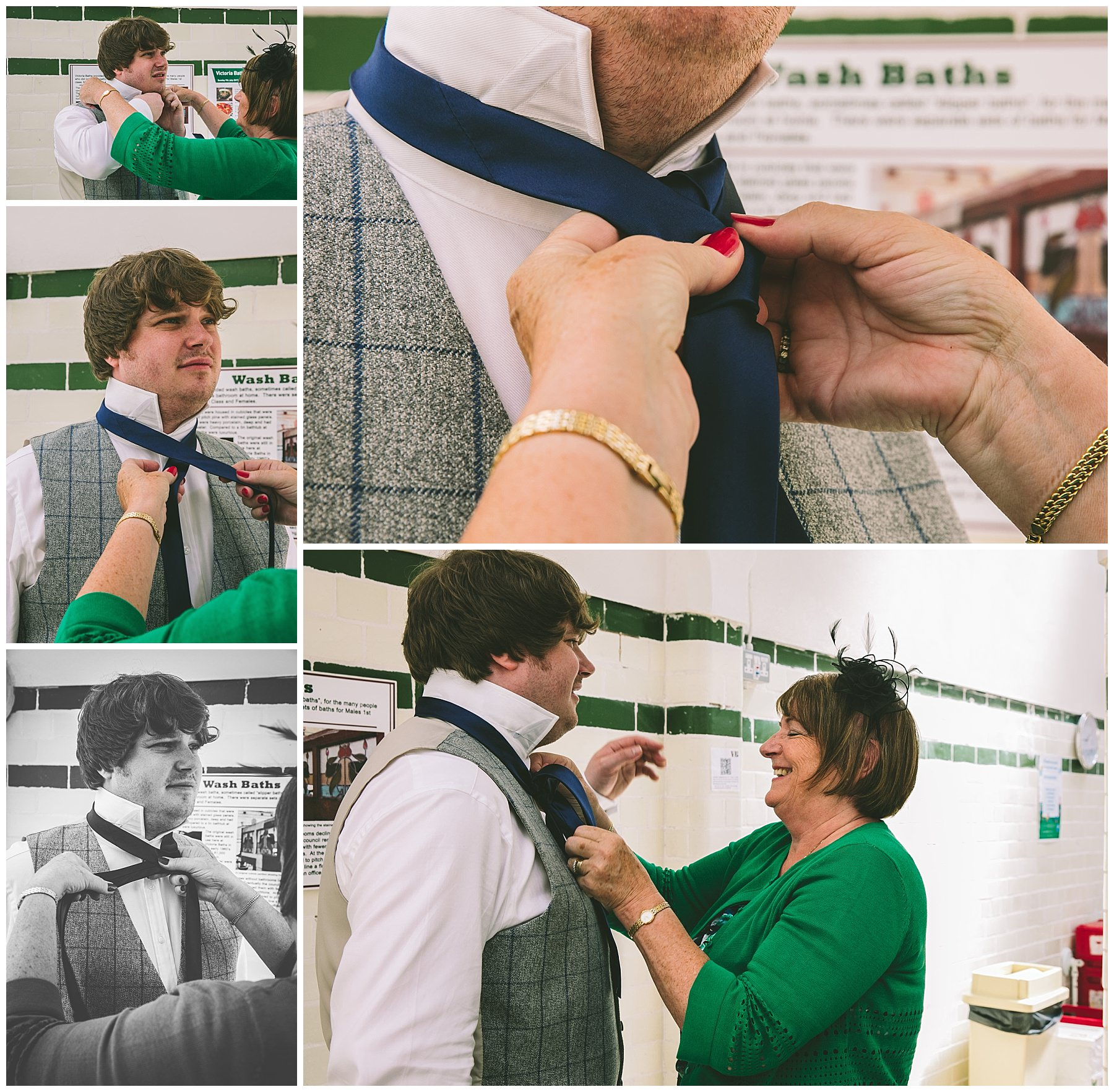 Grooms mum fixes his tie before the ceremony at Victoria Baths