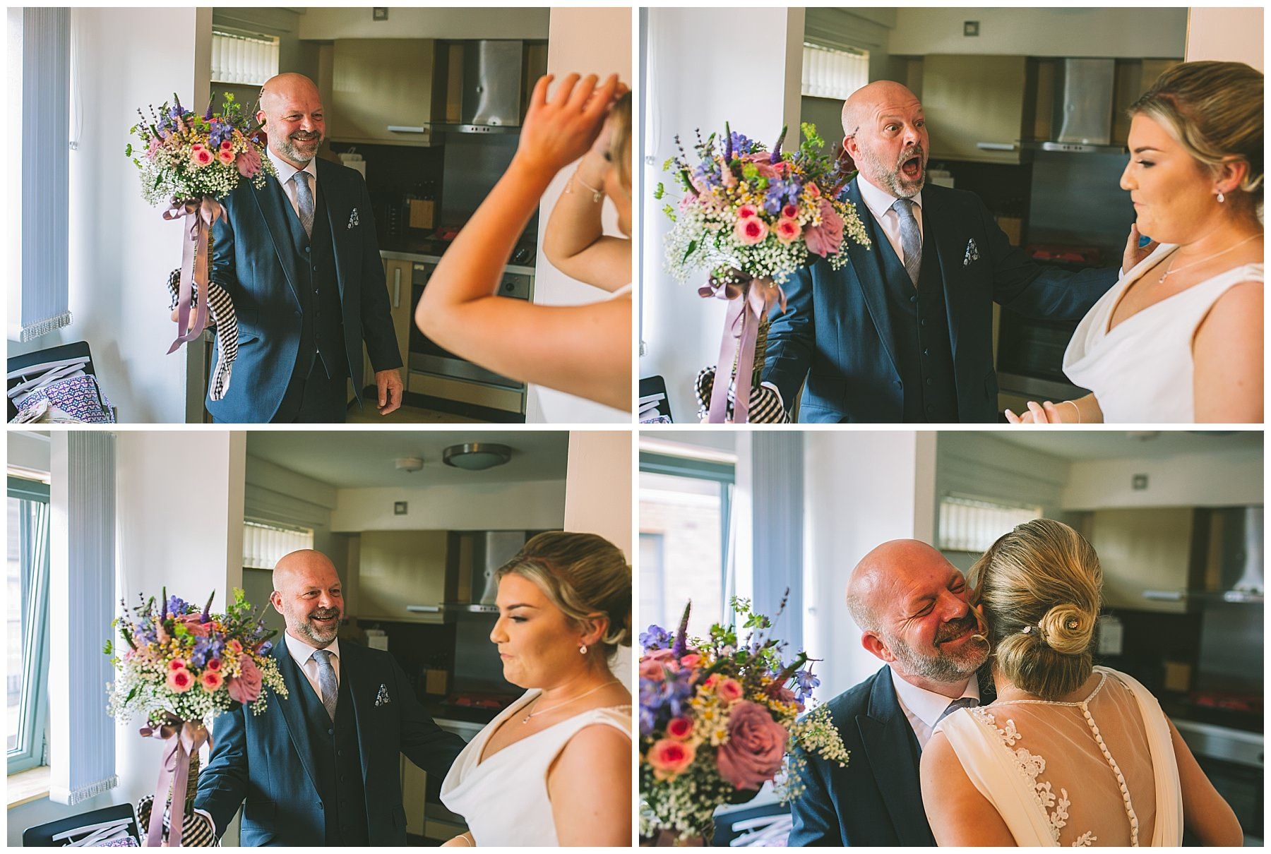 Brides father reacts to seeing his daughetrin her wedding dress