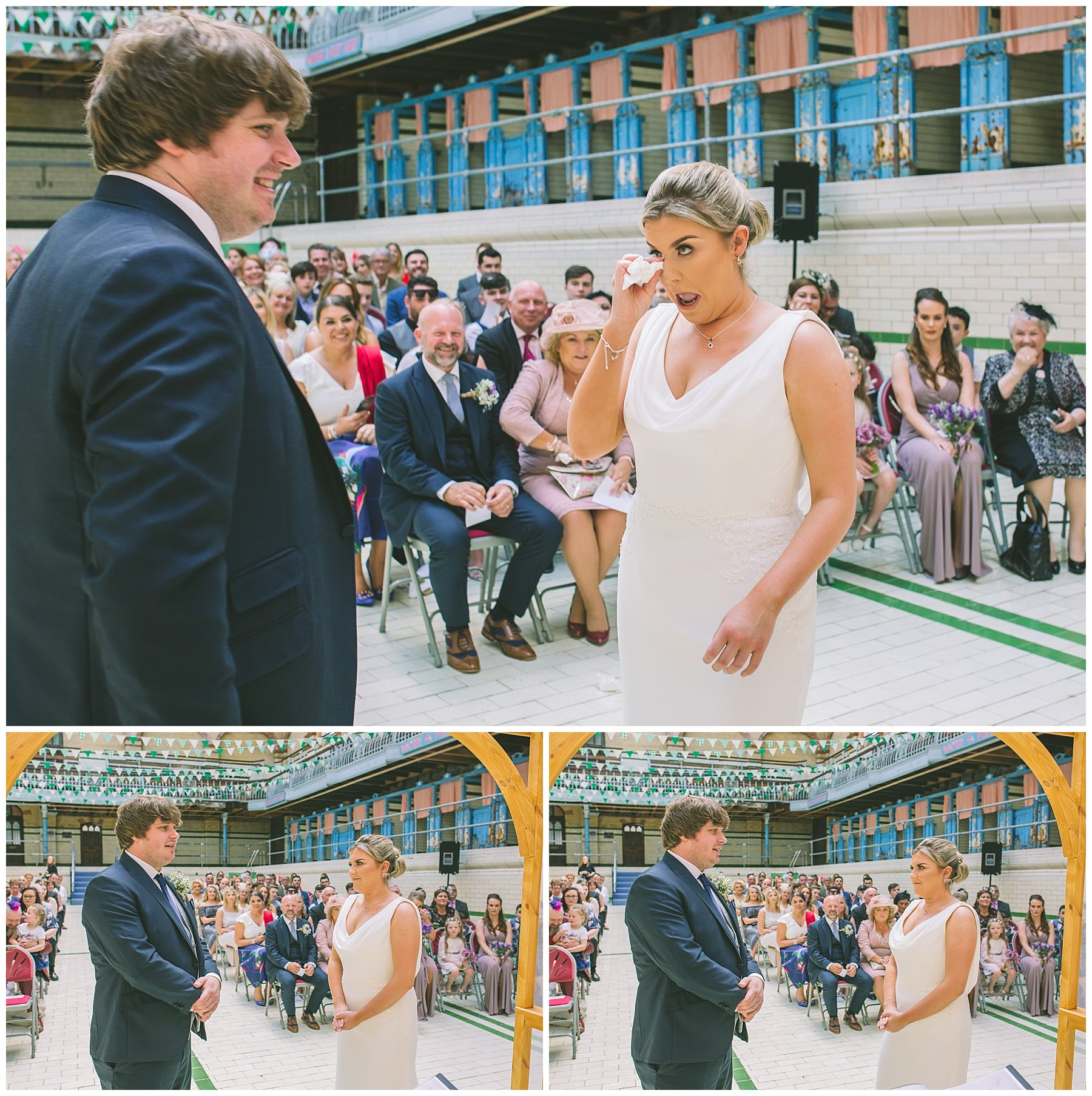wedding ceremony in the pool at victoria baths