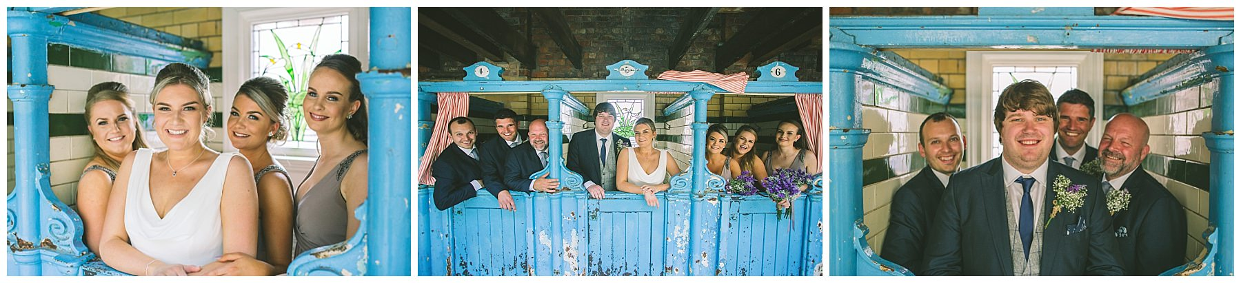Bridesmaids and Groomsmen in the changing stalls at Victoria Baths