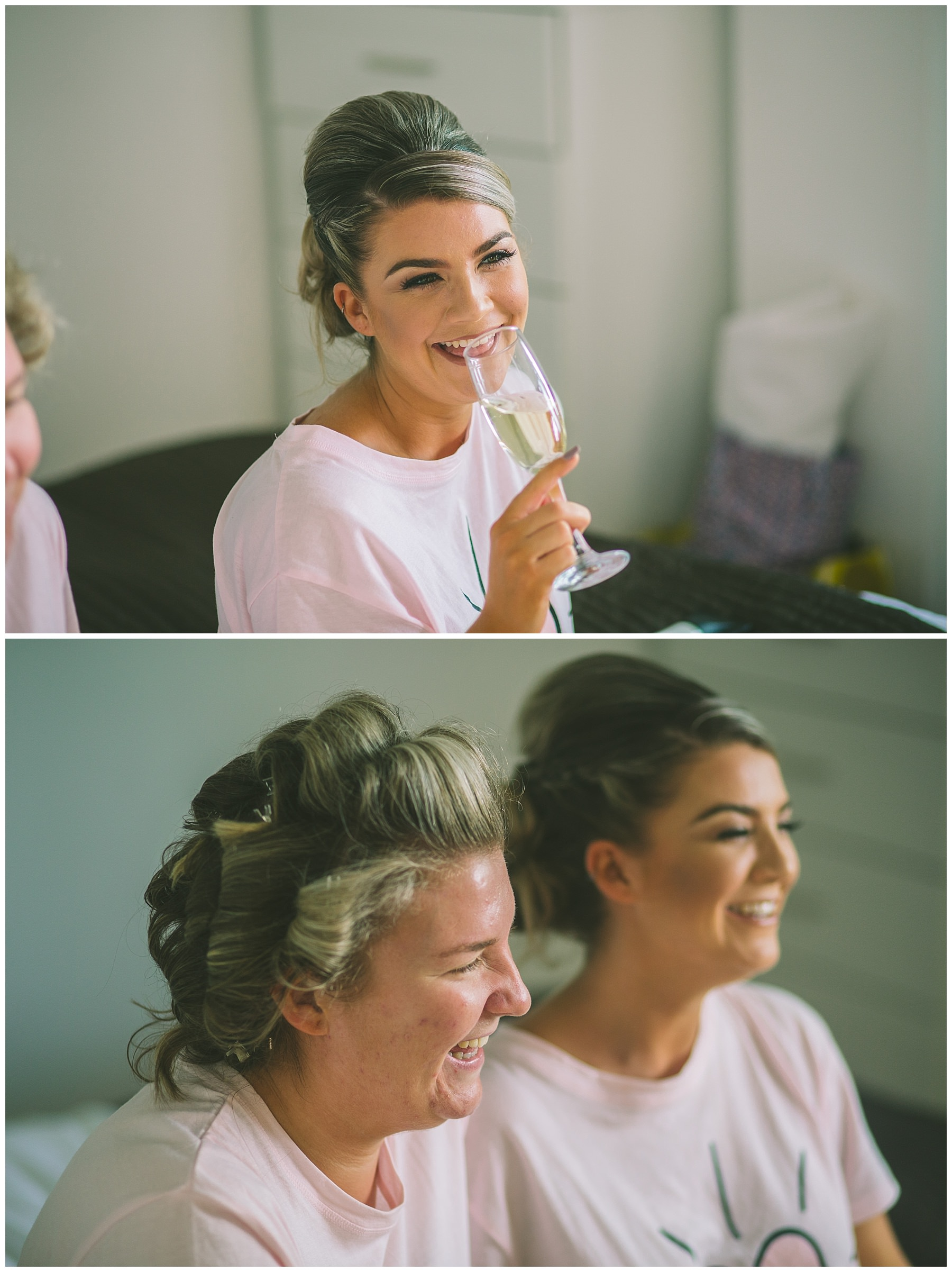 Bride and her sister enjoying the bridal morning