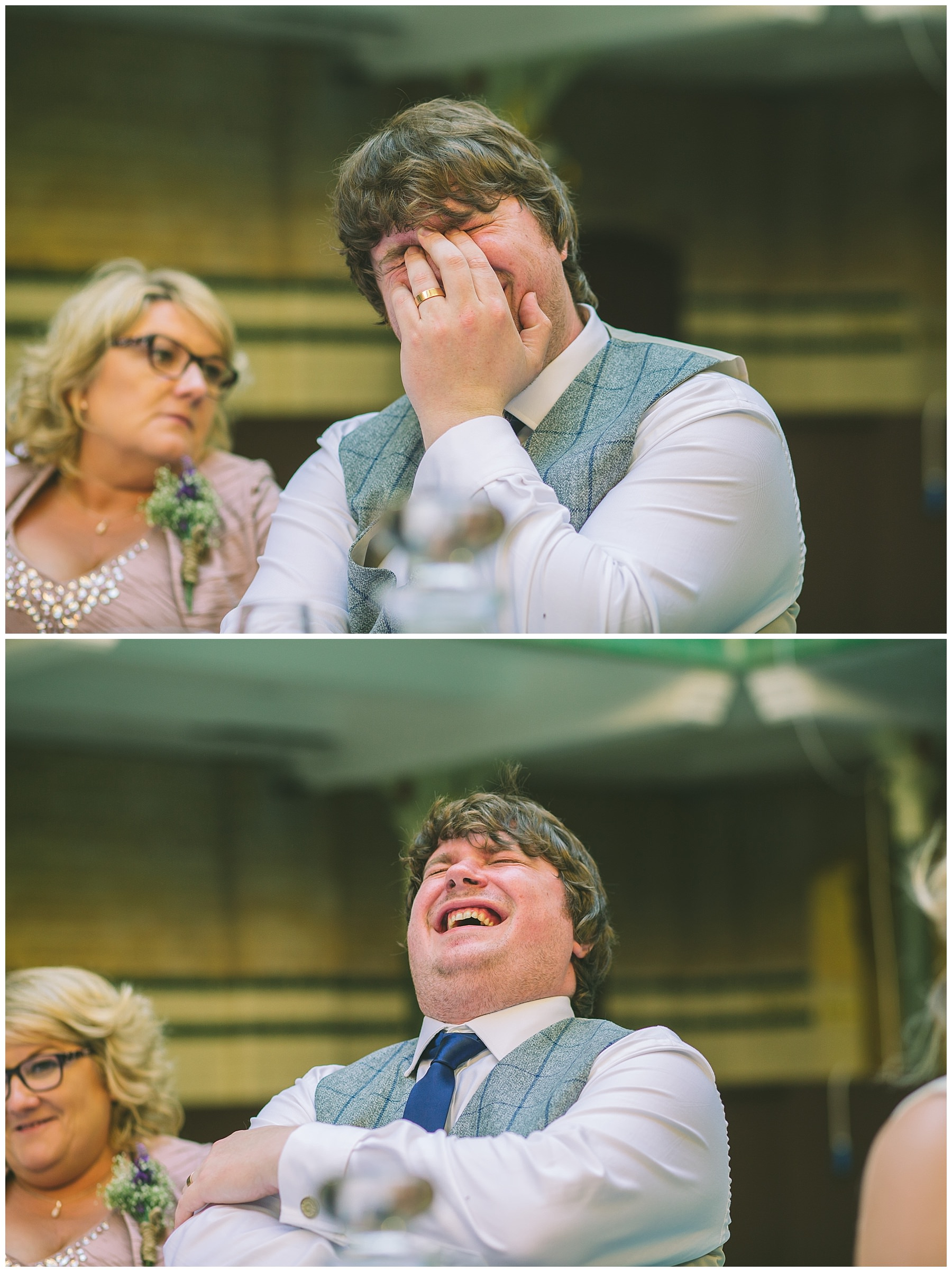 Groom laughing at his best mans speech