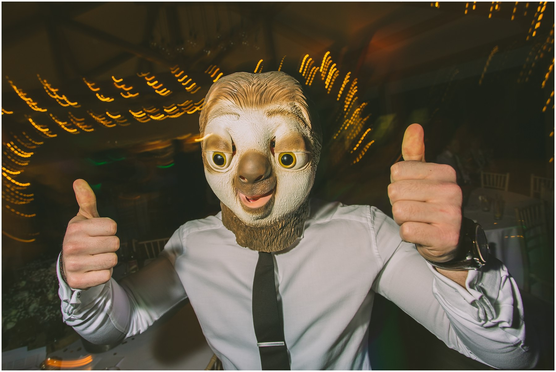 Man wears a sloth mask at Pryors Hayes wedding Party