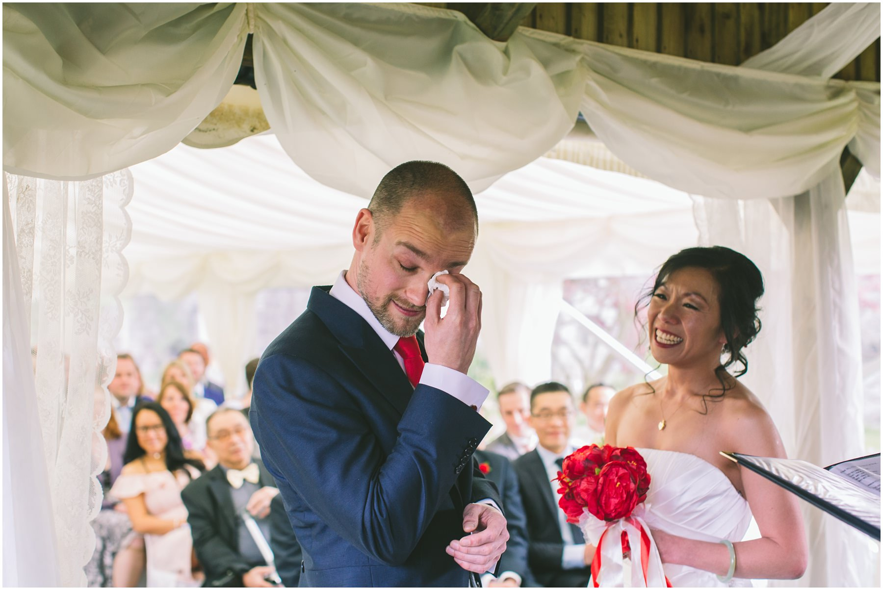 groom cries during ceremony at pentre mawr