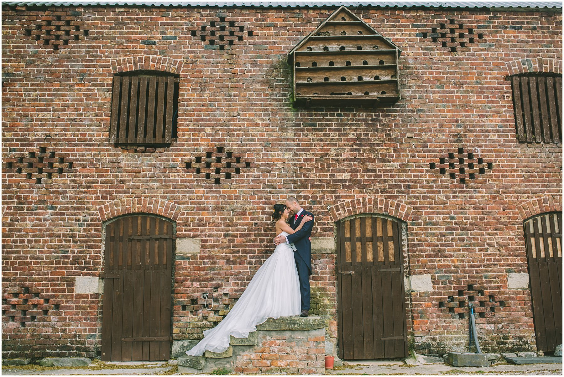 Bride and Groom embrace at Pentre Mawr Country House