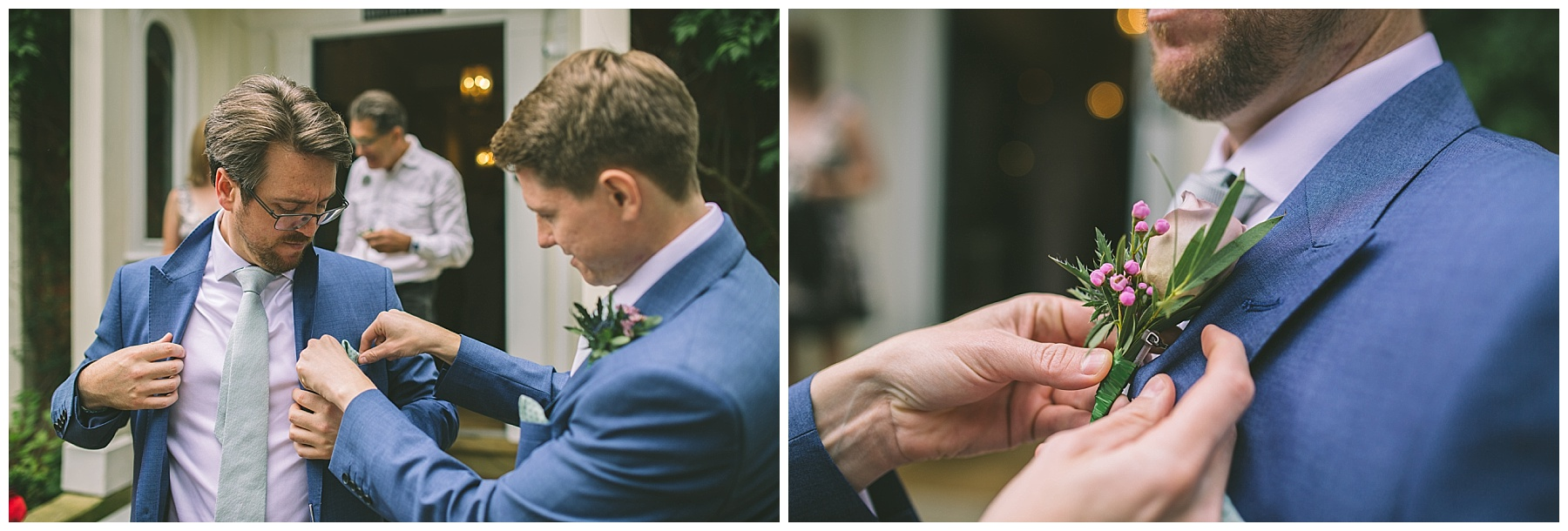 Best man helps the groom with his button hole from The Flower Lounge