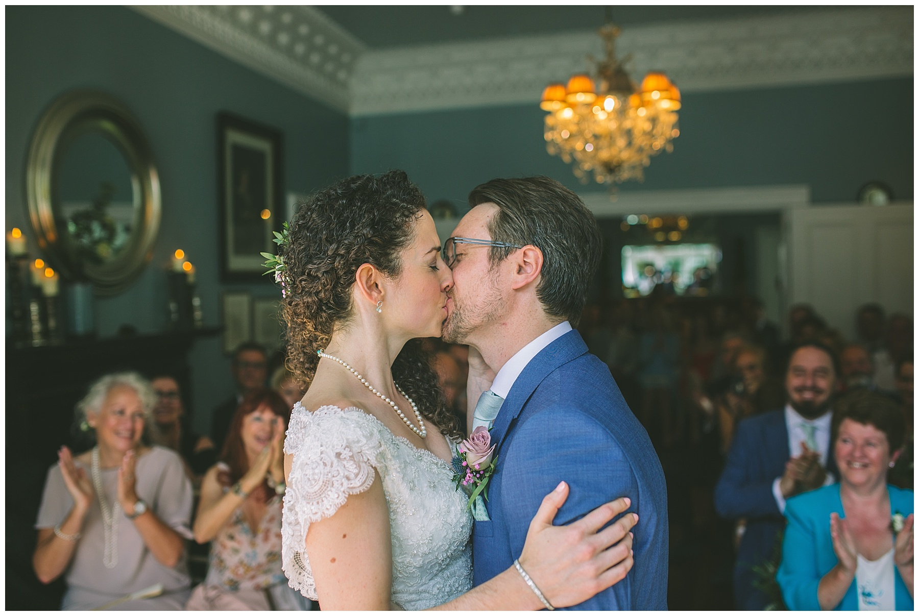 Married couple have their first kiss in the blue room at Didsbury House