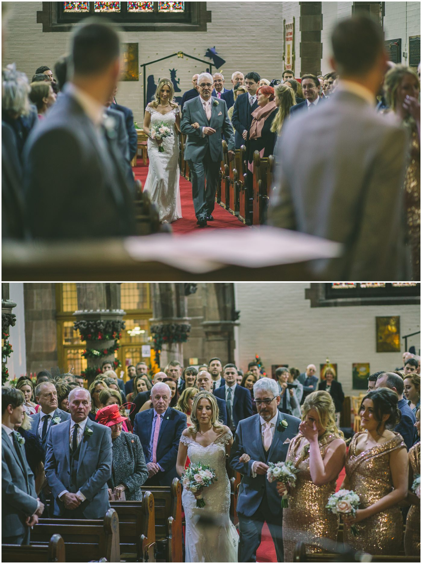 Bride is walked down the isle by her father