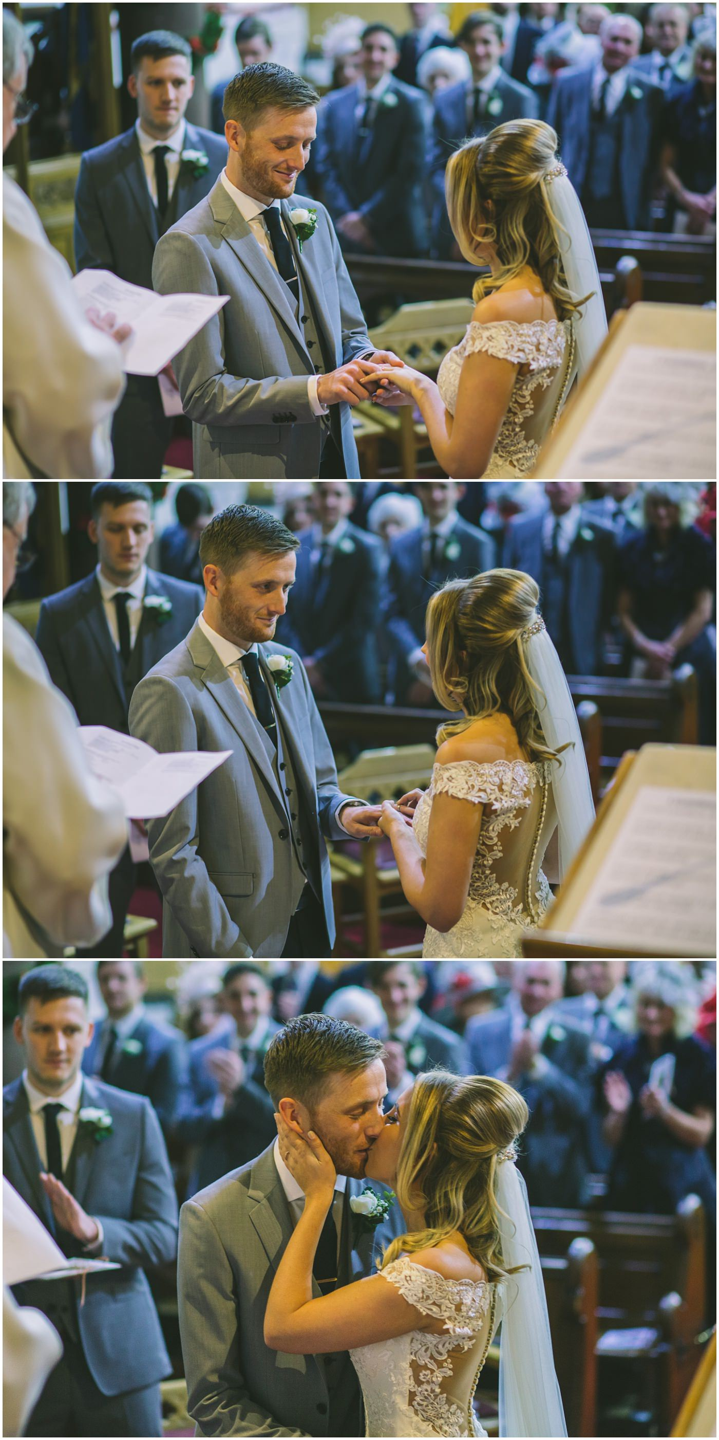bride and groom exchange rings during the wedding ceremony