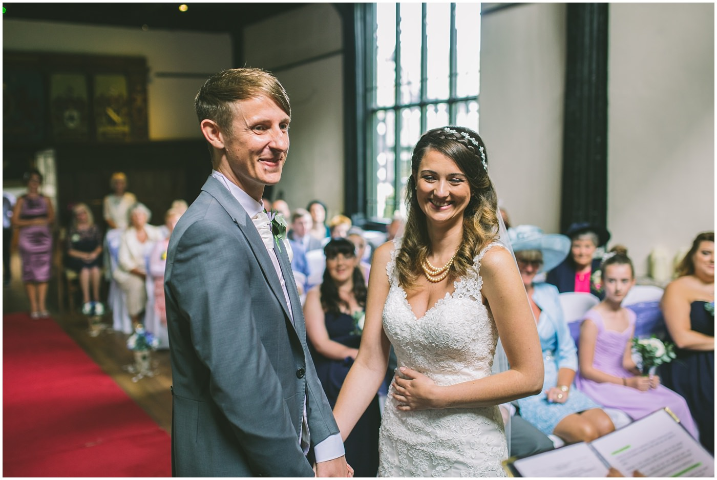 smiles and giggles during a Samlesbury hall wedding