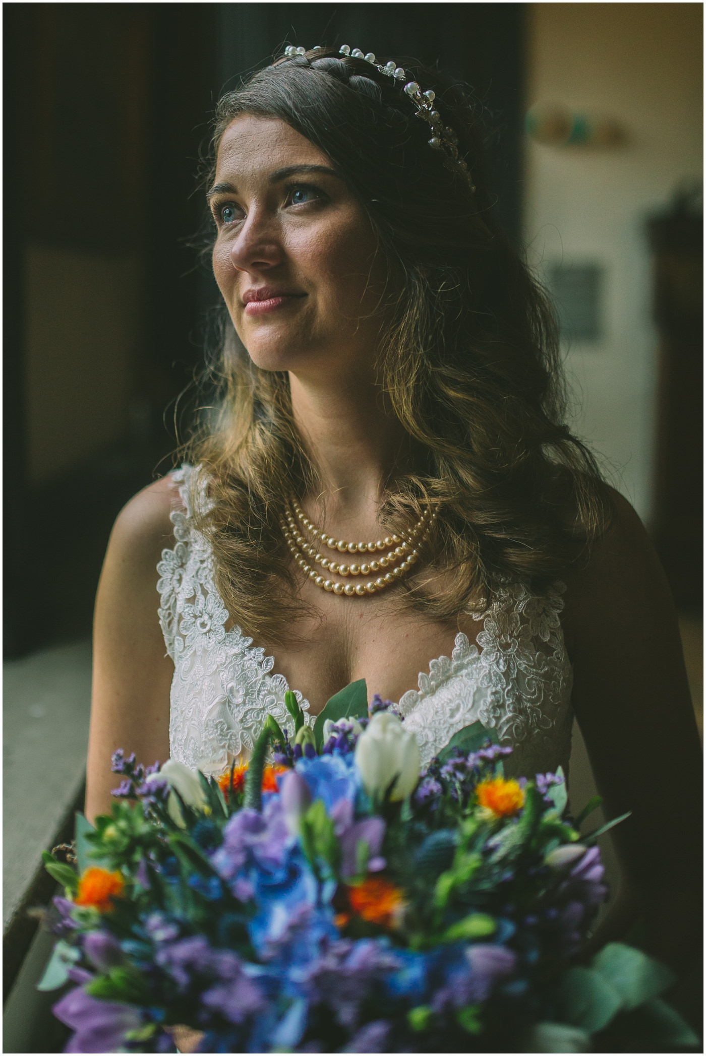 bridal portrait using natural window light
