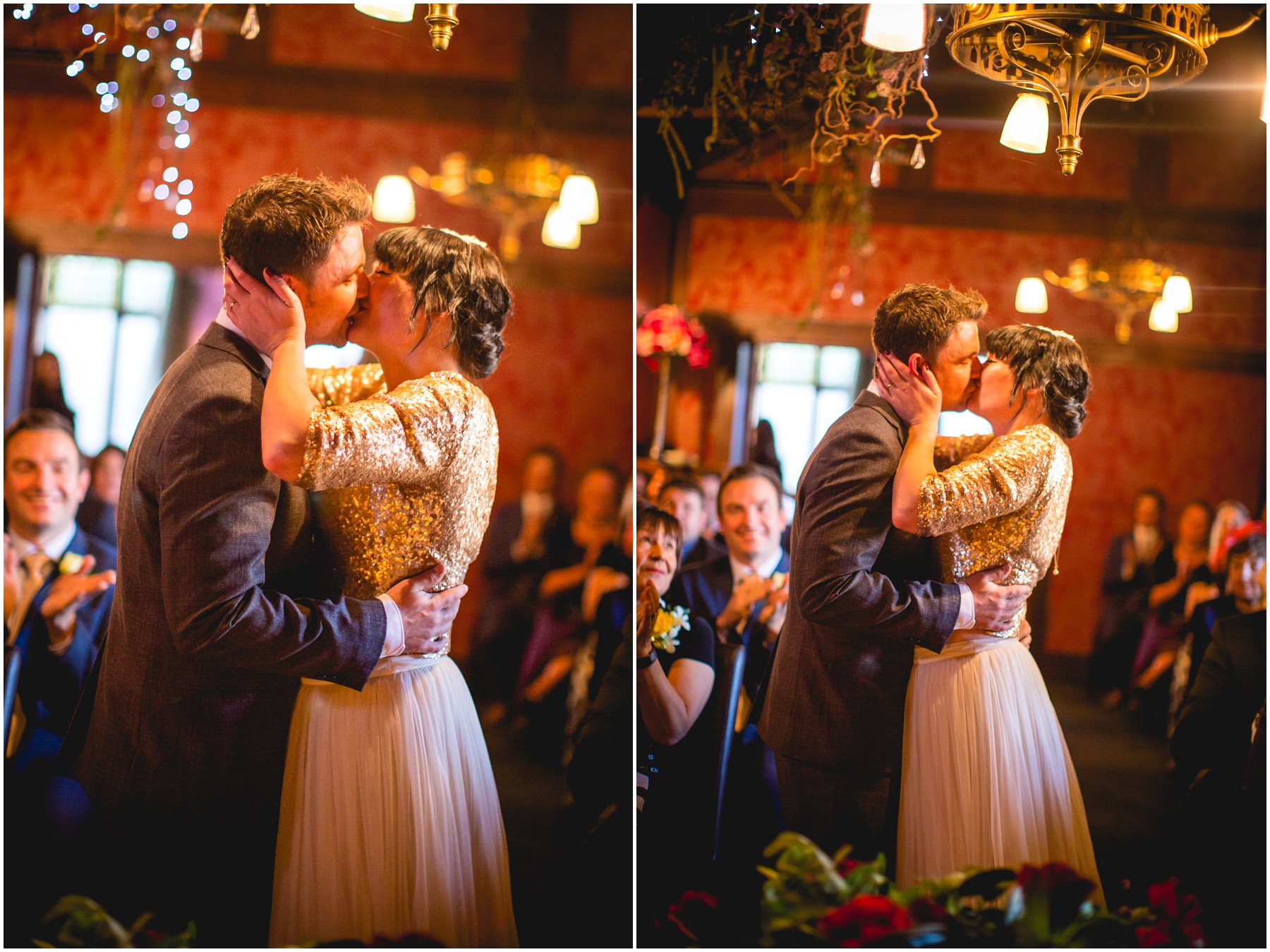 bride an groom have their first kiss at the belle epoque