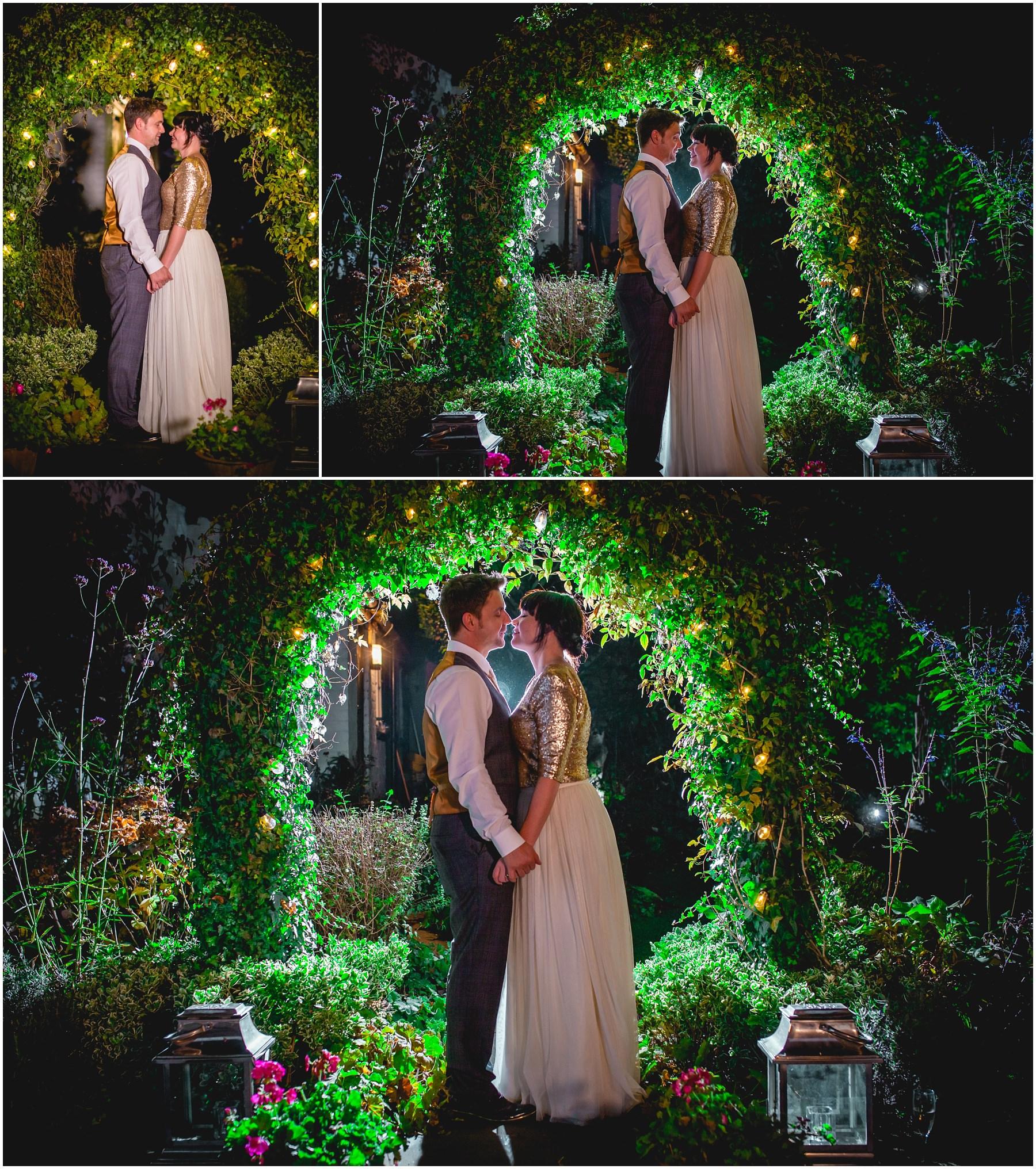 wedding photographs under the garden arch at the belle epoque