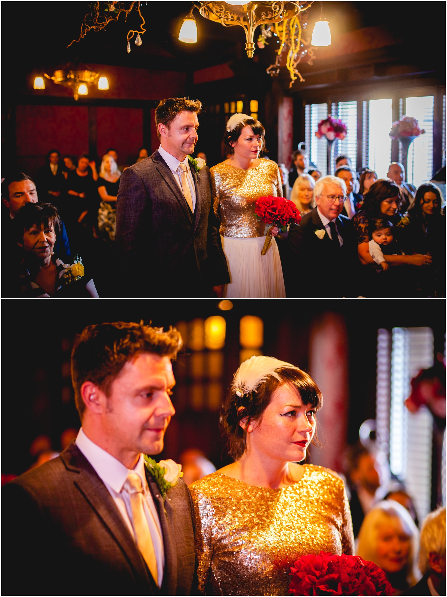a bride and groom during the service at the belle epoque