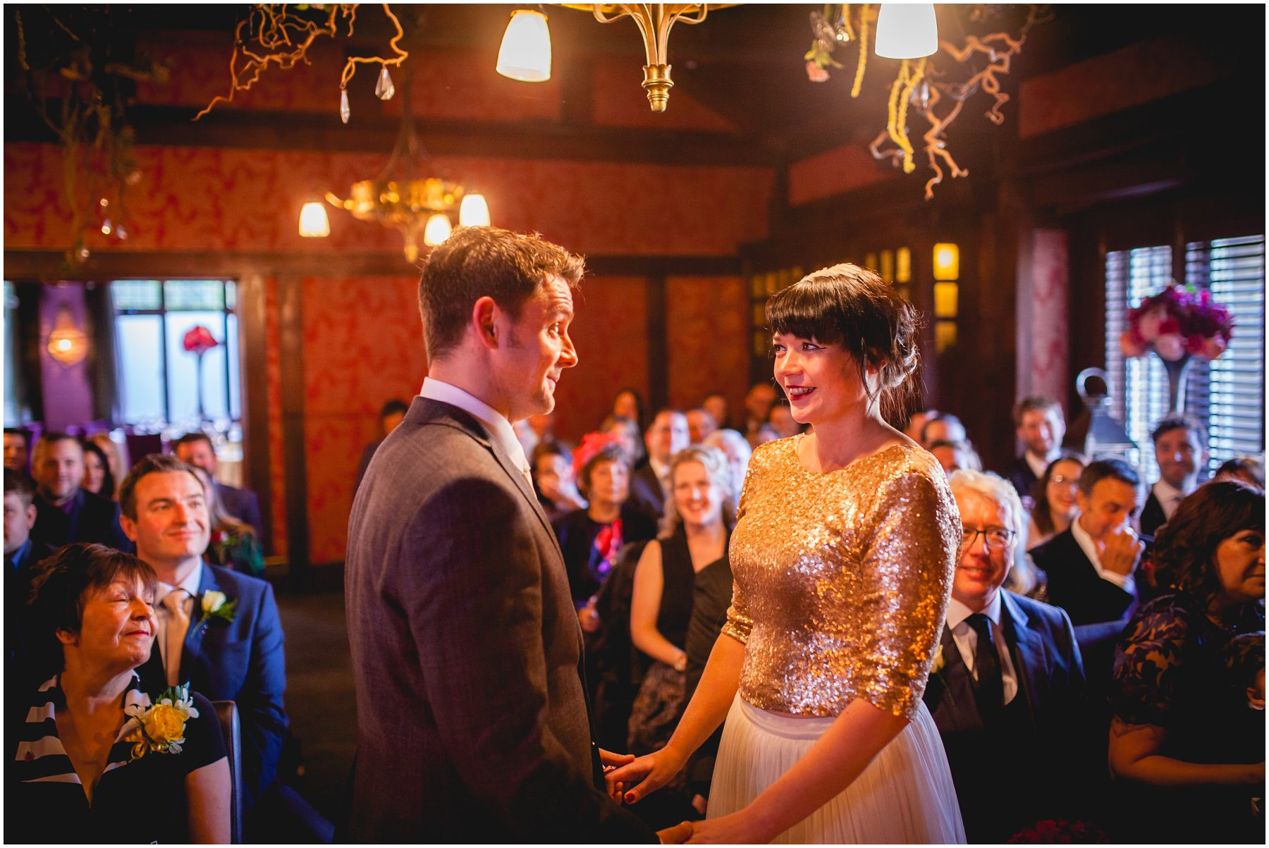 the bride and groom exchange a smile an laugh at the belle epoque