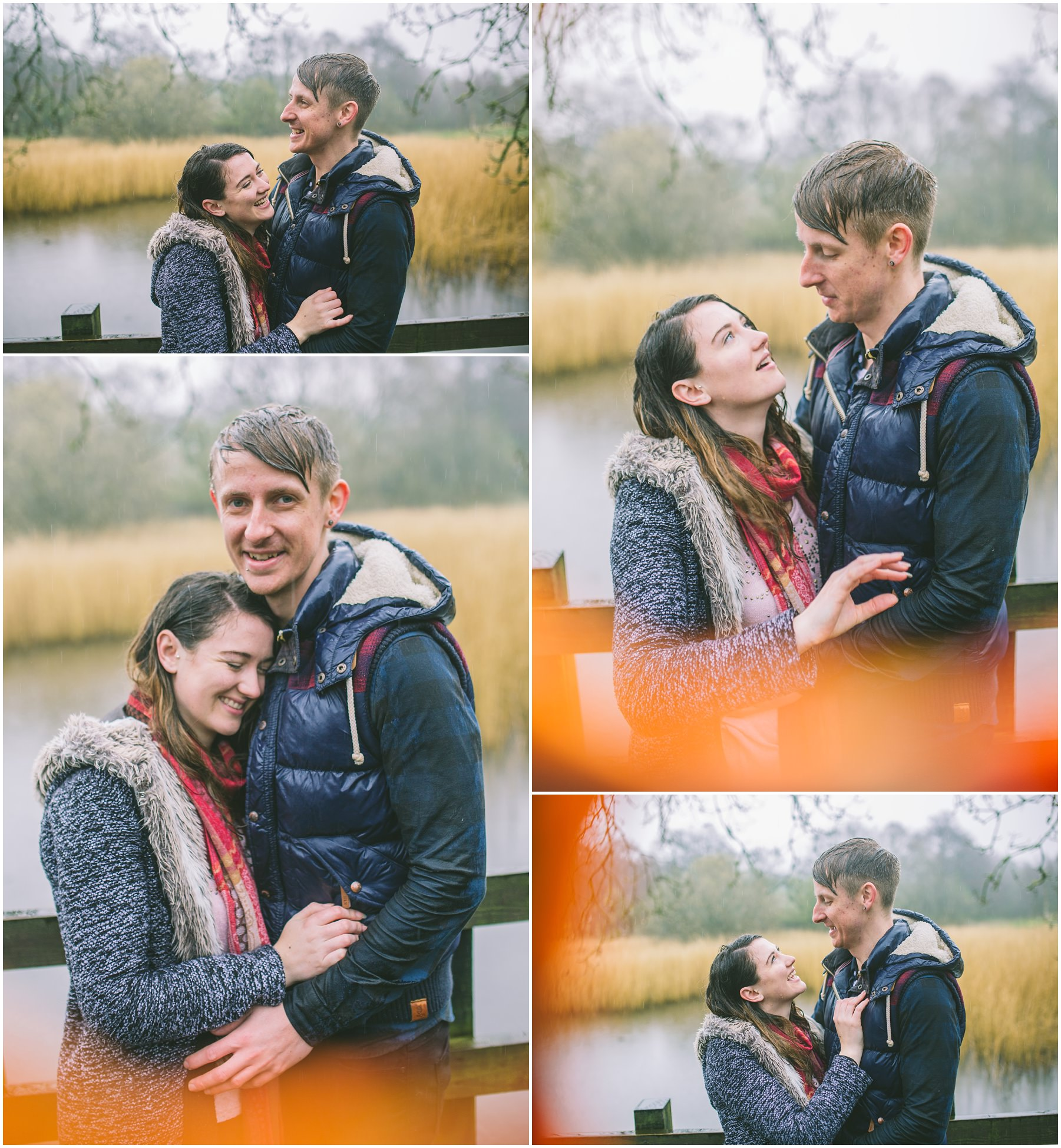 a couple laughing in the rain