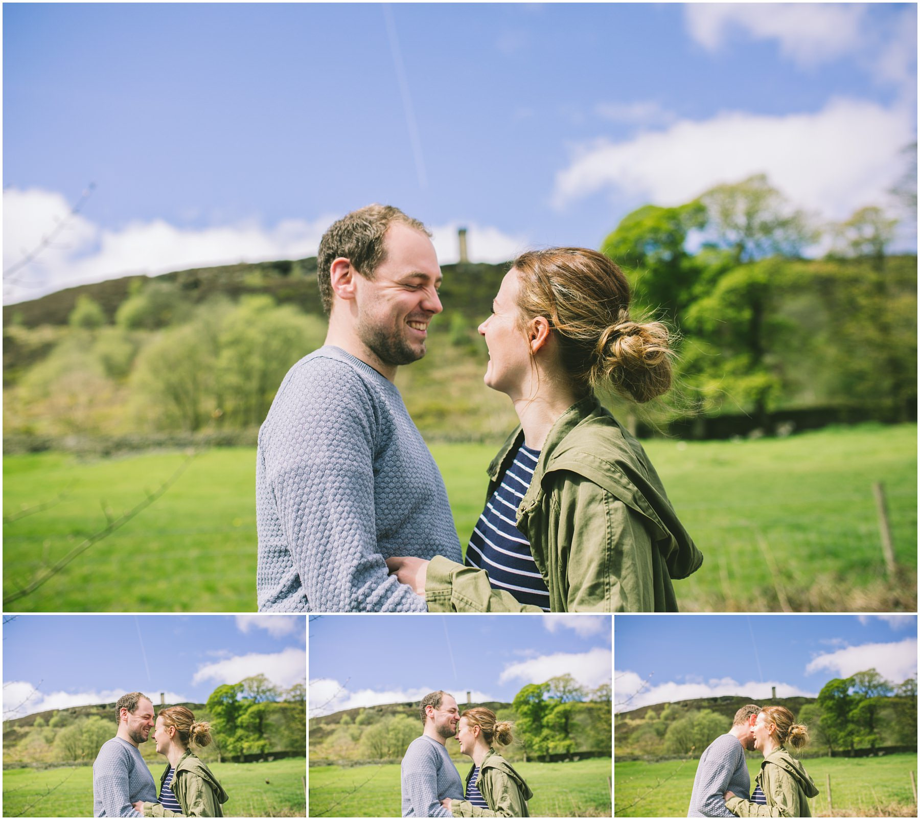 Danny an Lauren in front of Peel Tower on their Ramsbottom Engagement Shoot