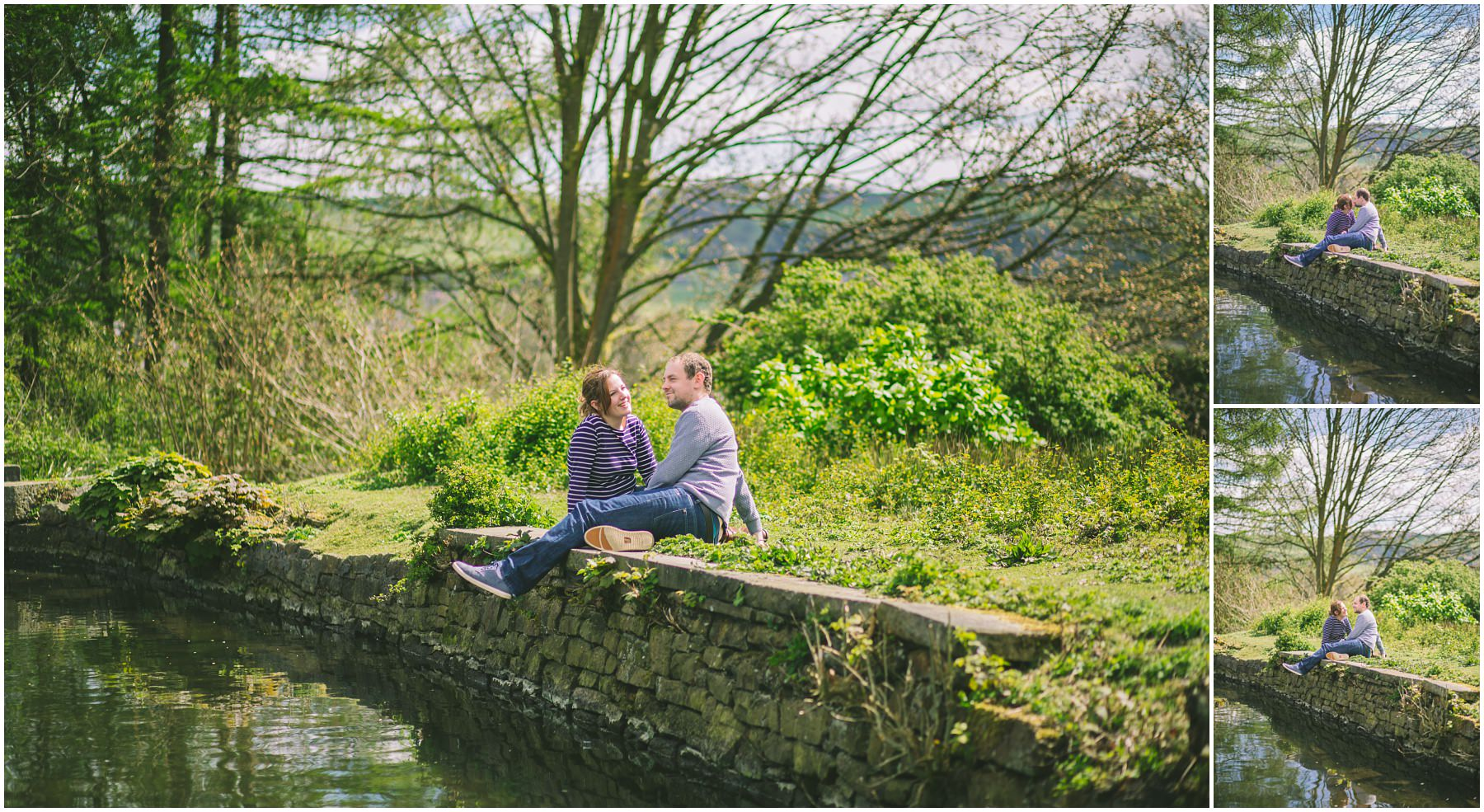 Danny and Lauren sat at the waters edge in Ramsbottom