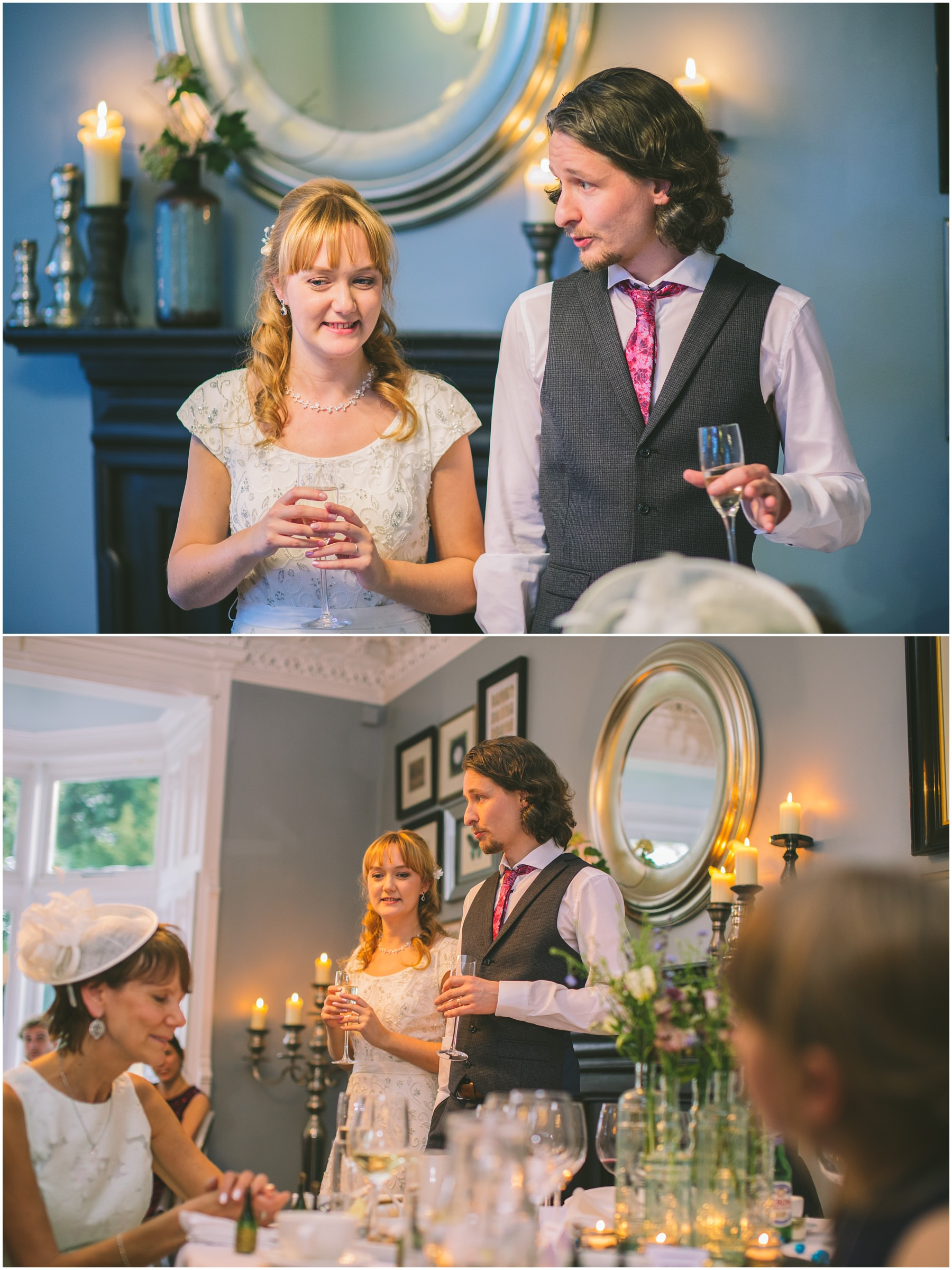 Bride and Groom give a joint speech in The Blue Room at Didsbury House