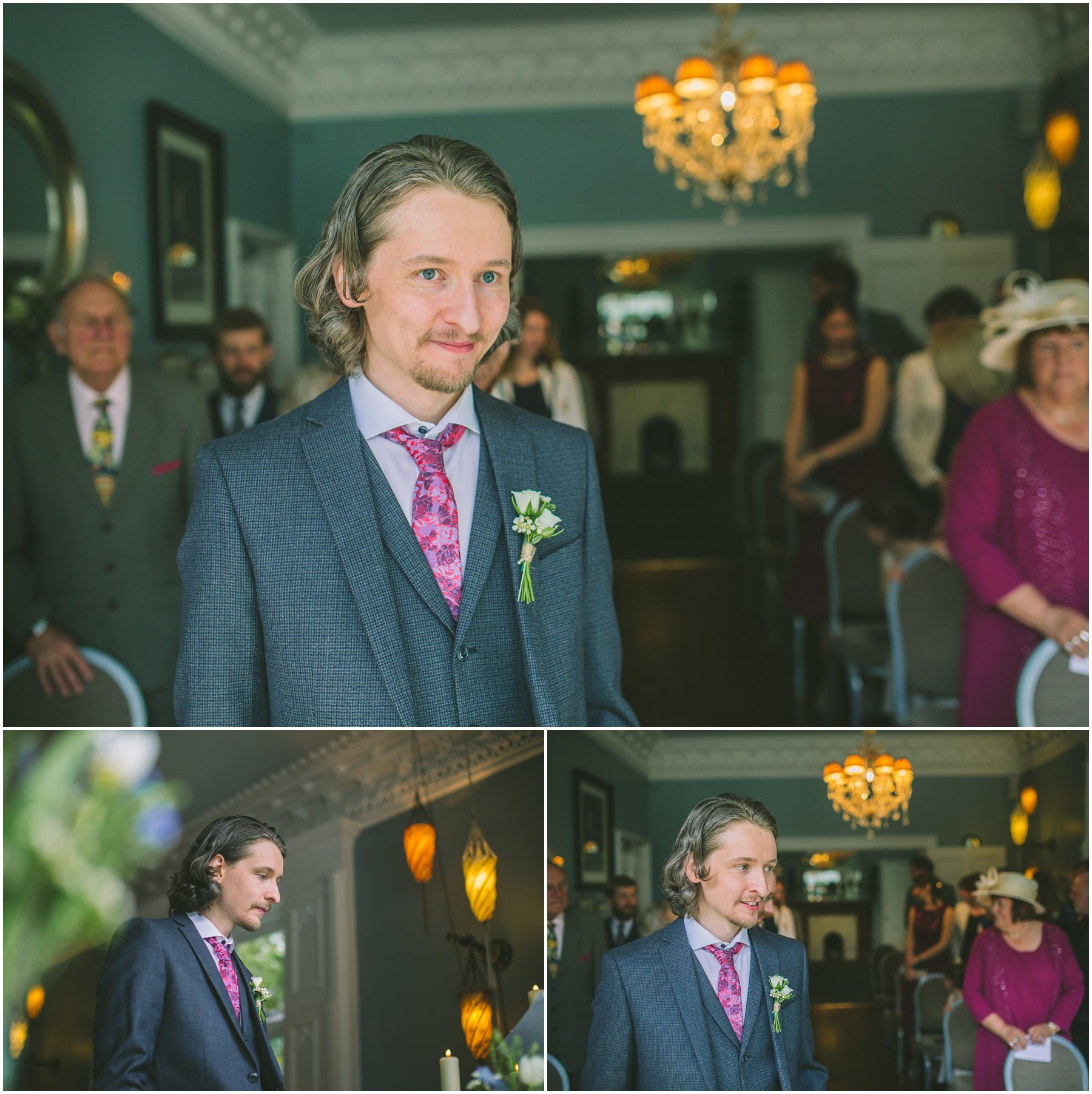 Groom waits for his Bride in the Blue Room at Didsbury House