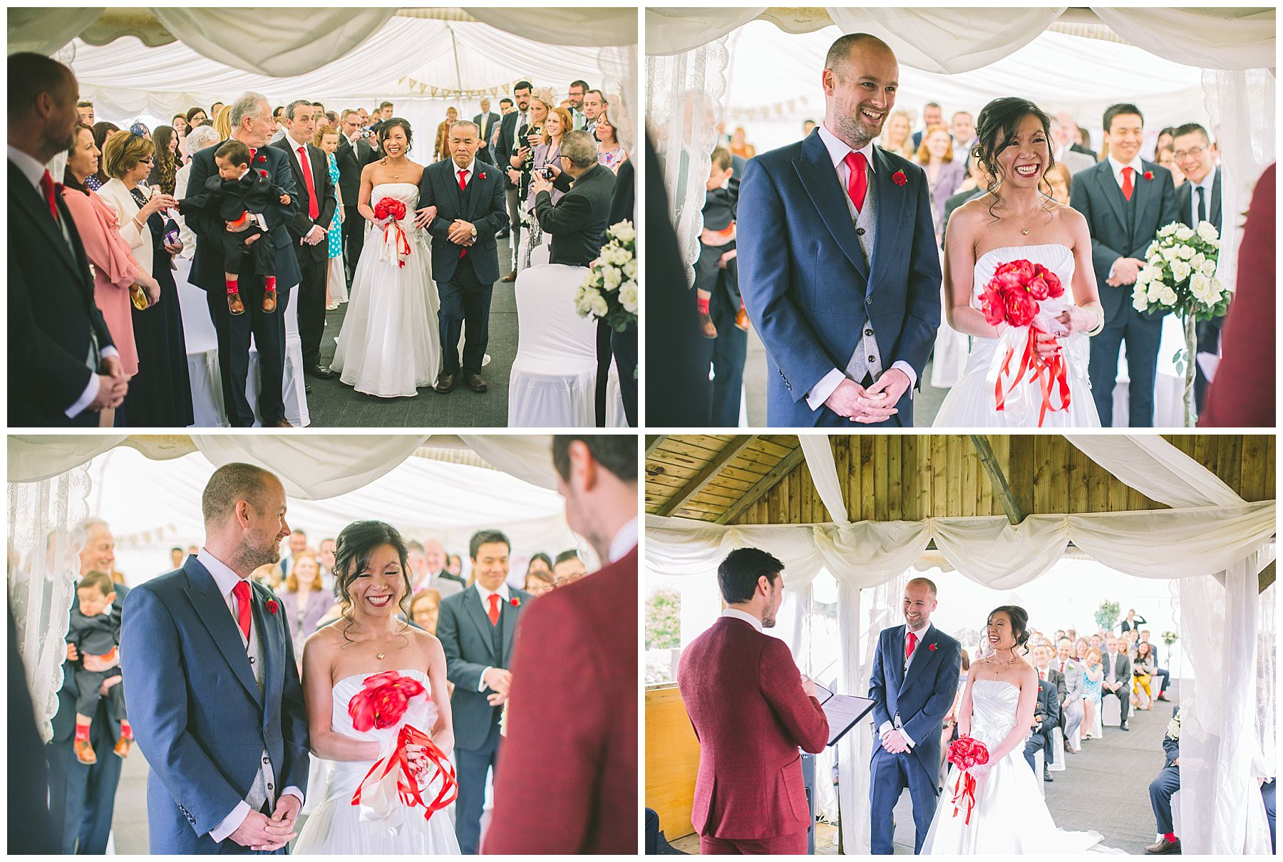 Bride arrives for the wedding ceremony at Pentre Mawr