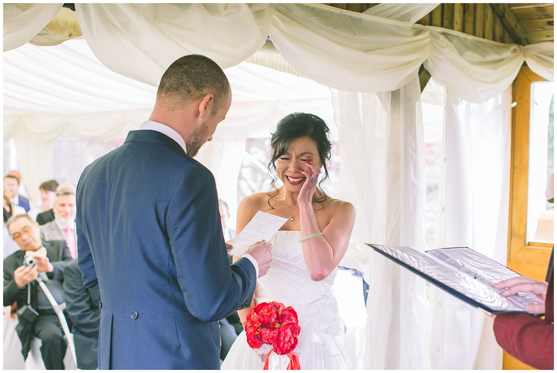 Bride laughs and cries during pentre mawr wedding
