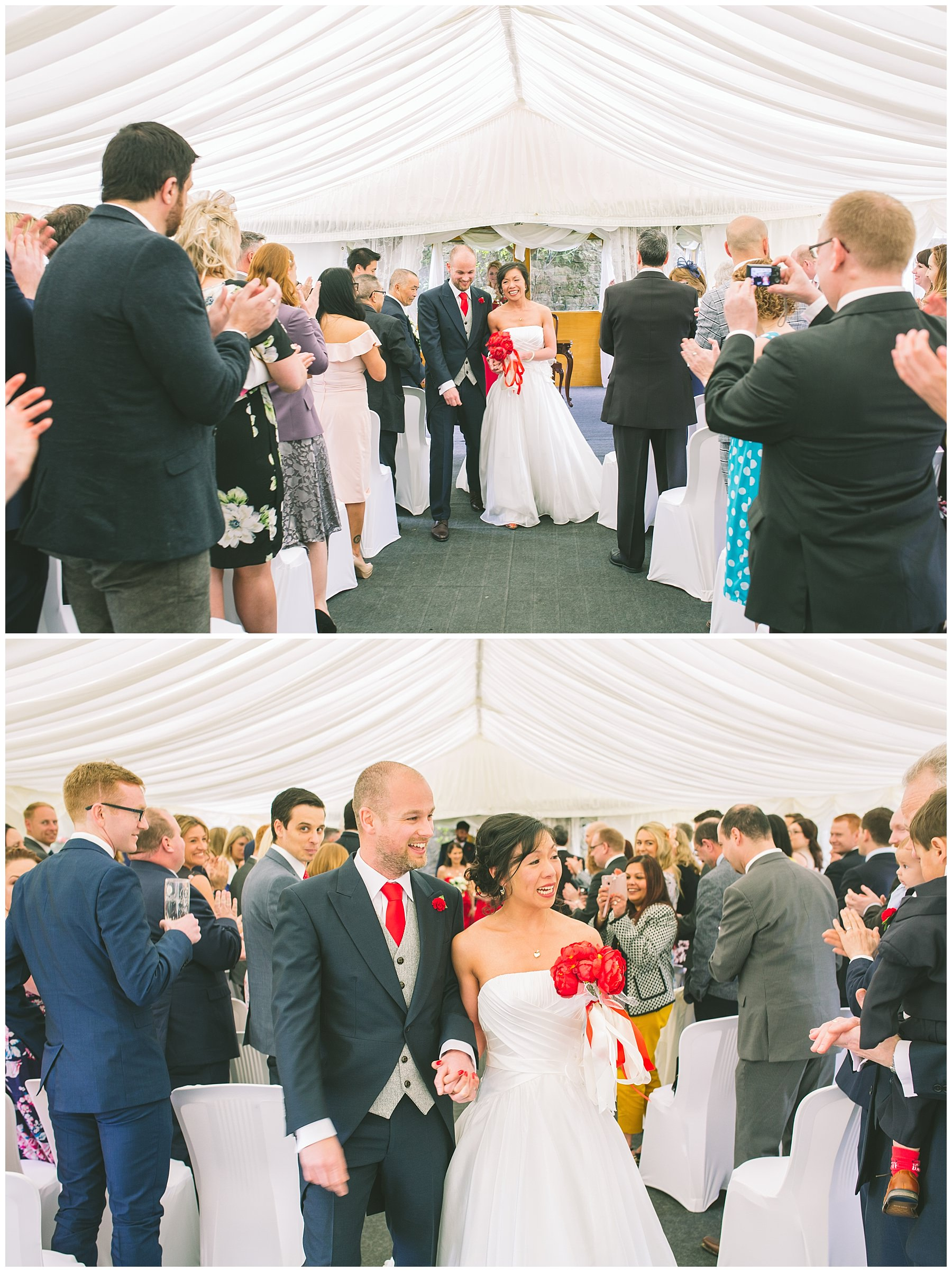 newly wedded couple leave the marquee after getting married