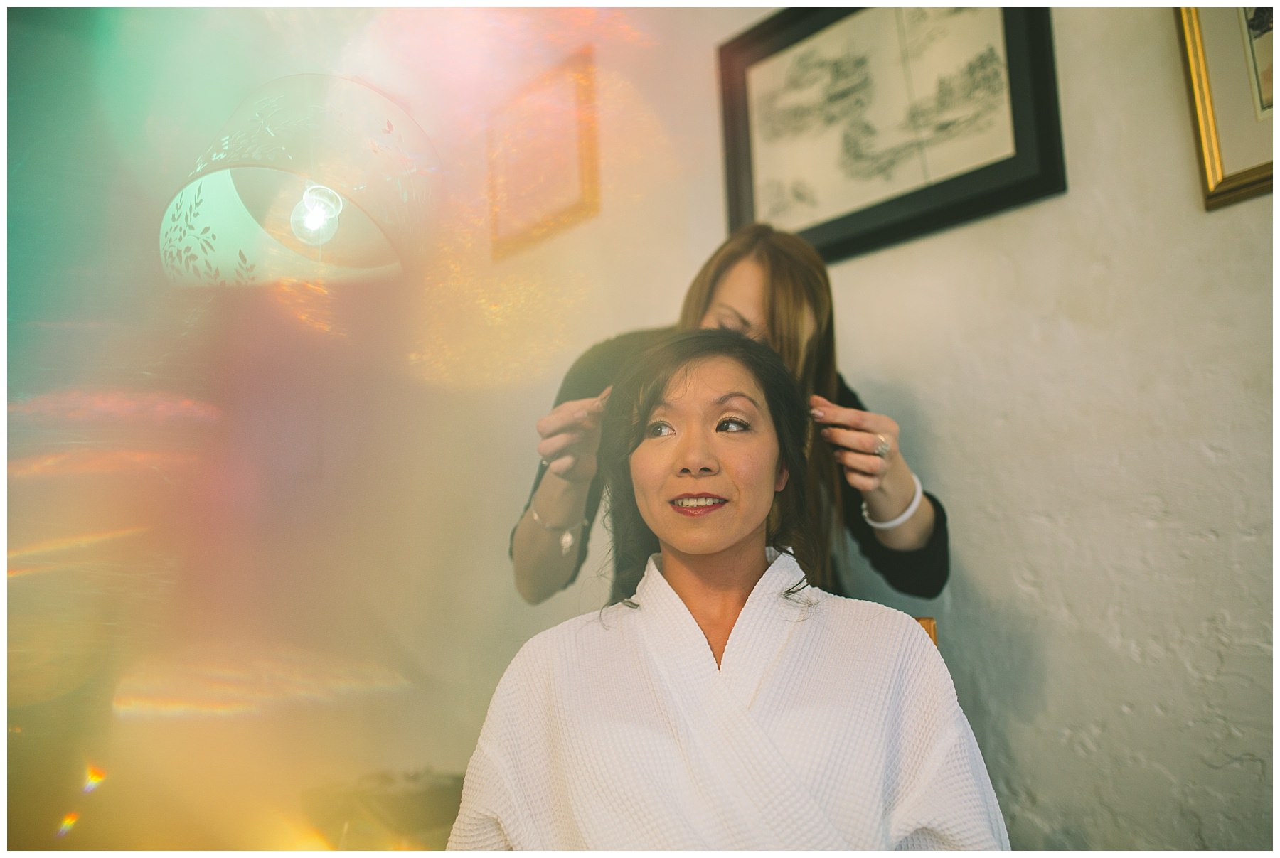 Bride has her hair set for wedding day