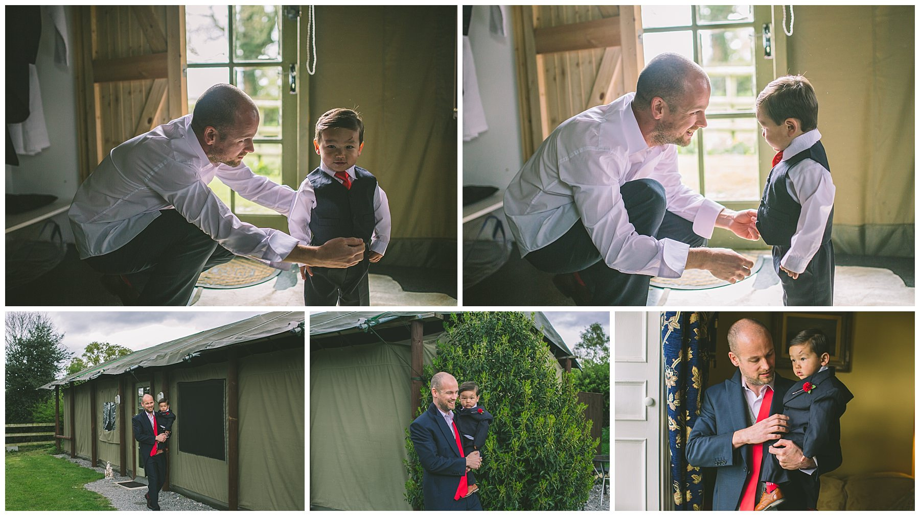 Groom and his Son get ready at Pentre Mawr in a safari lodge