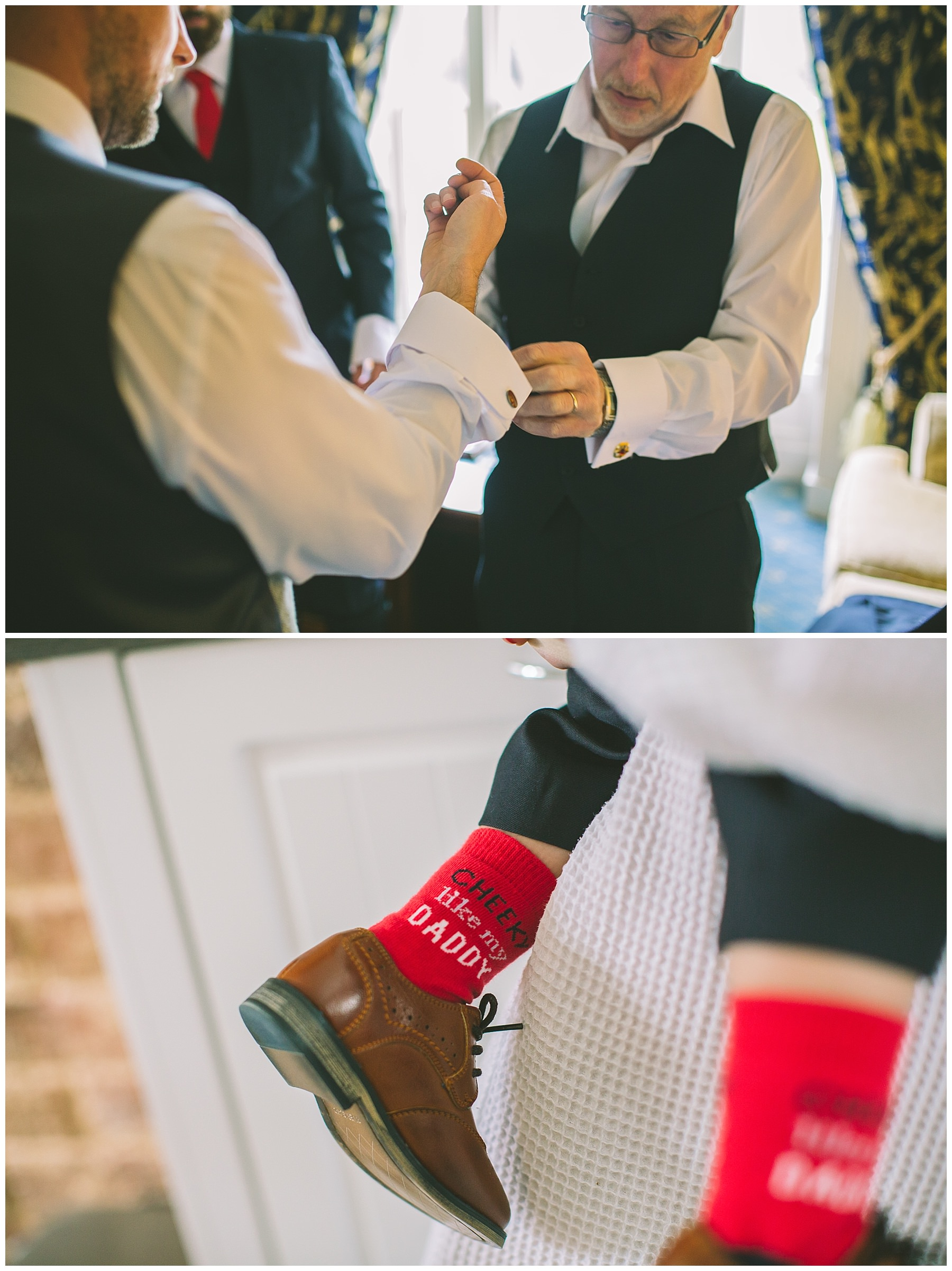Grooms father helps with cufflinks