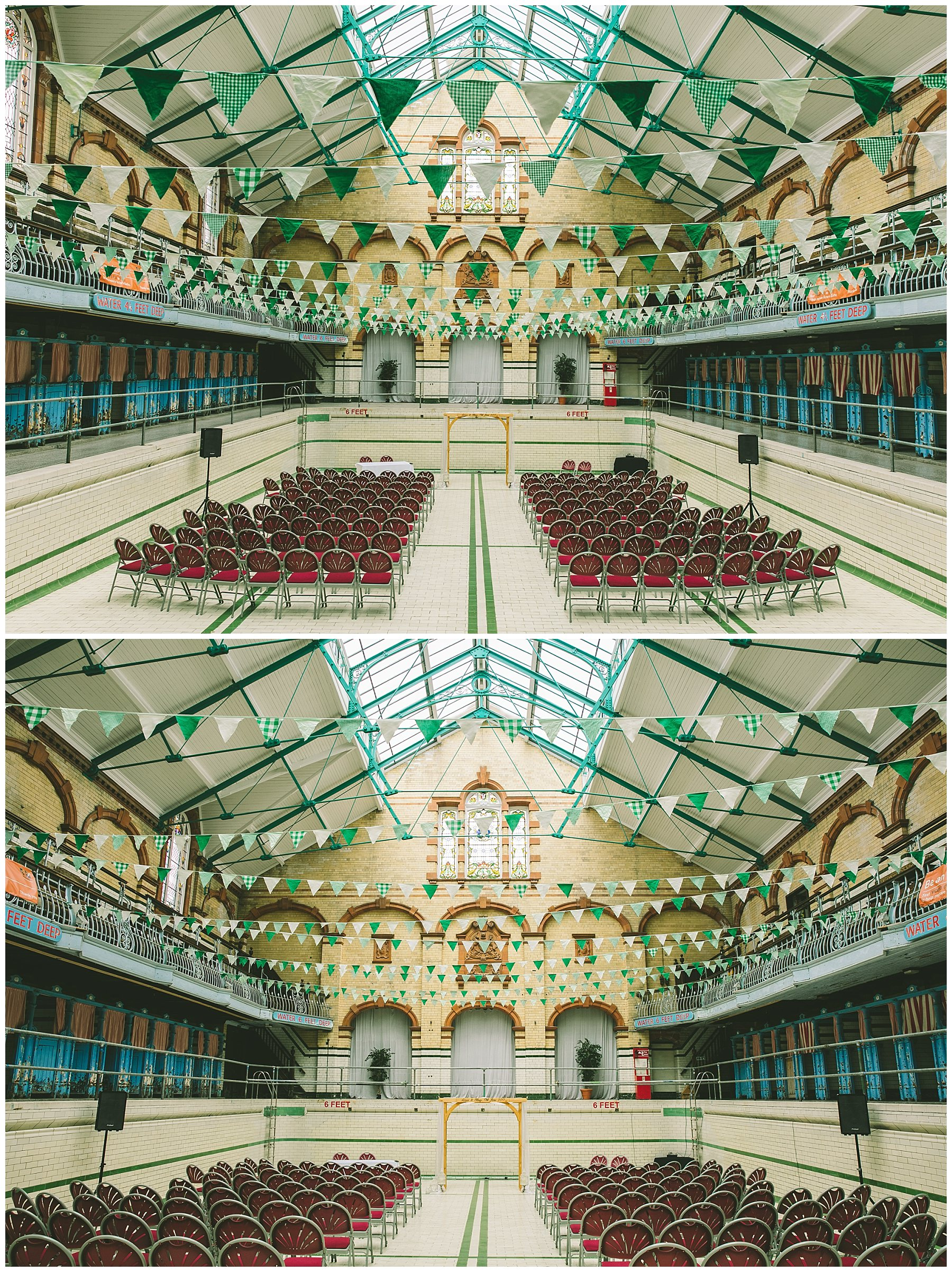 Ceremony set up in the pool at Victoria Baths