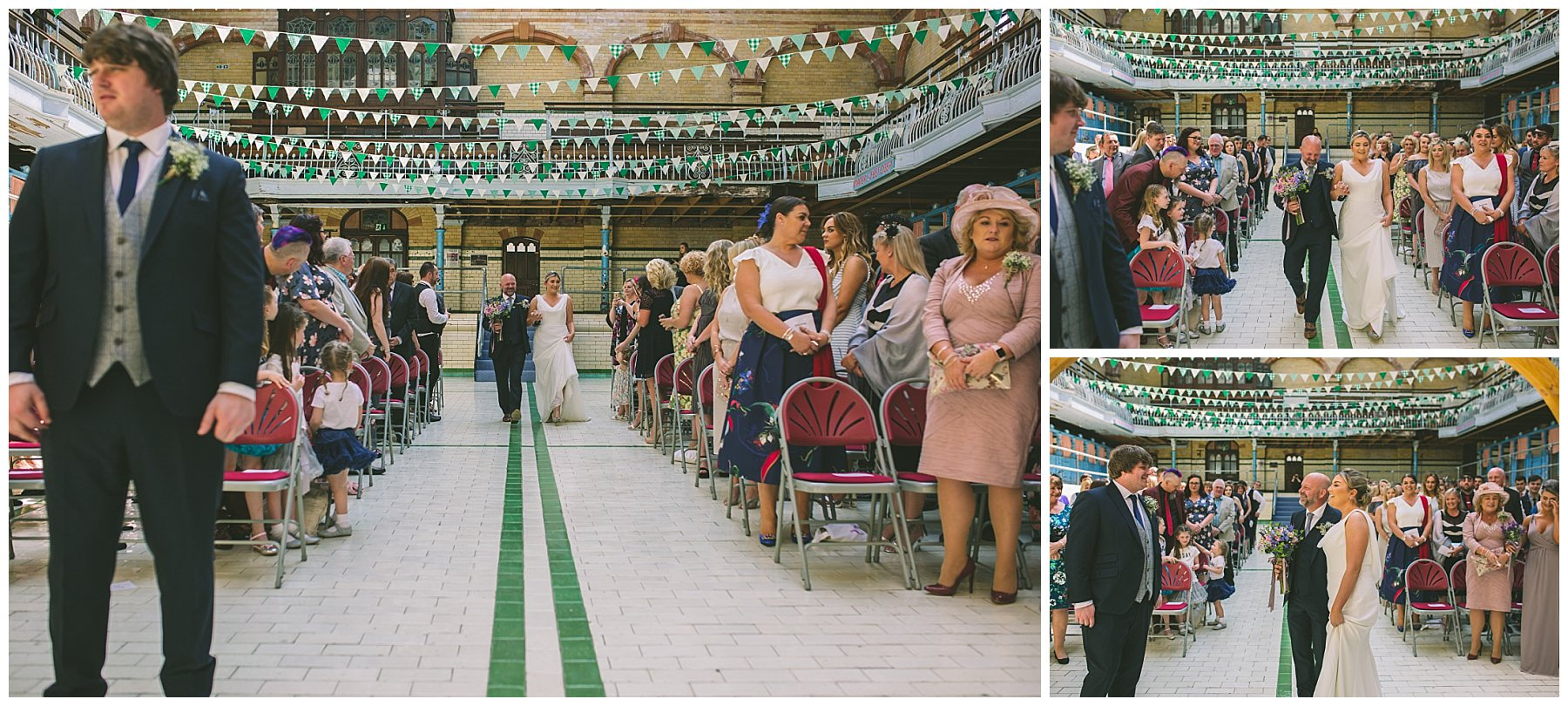 Bride makes her arrival at Victoria Baths
