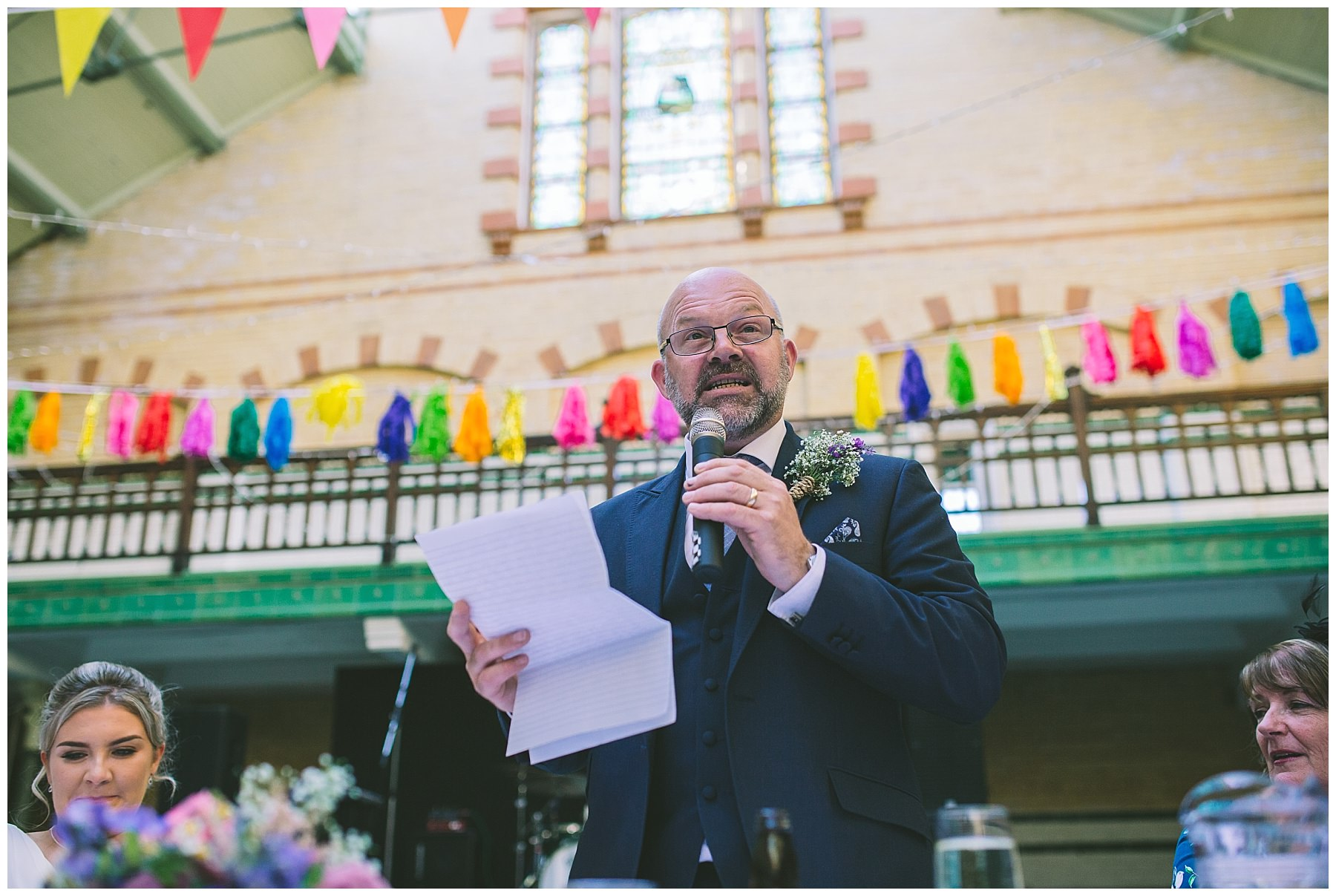 Father of the bride gives a speech at Victoria Baths