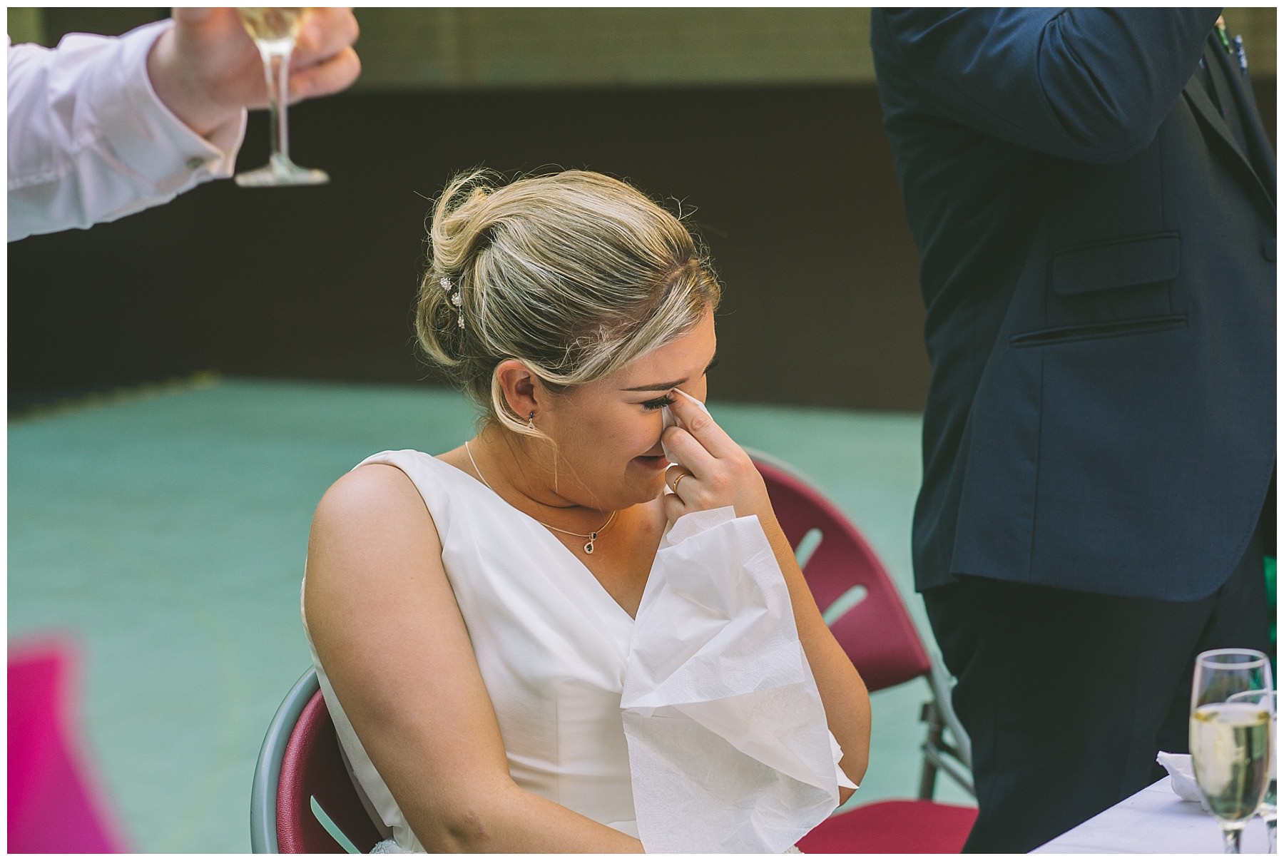 Bride cries during her husbands speech at Victoria Baths