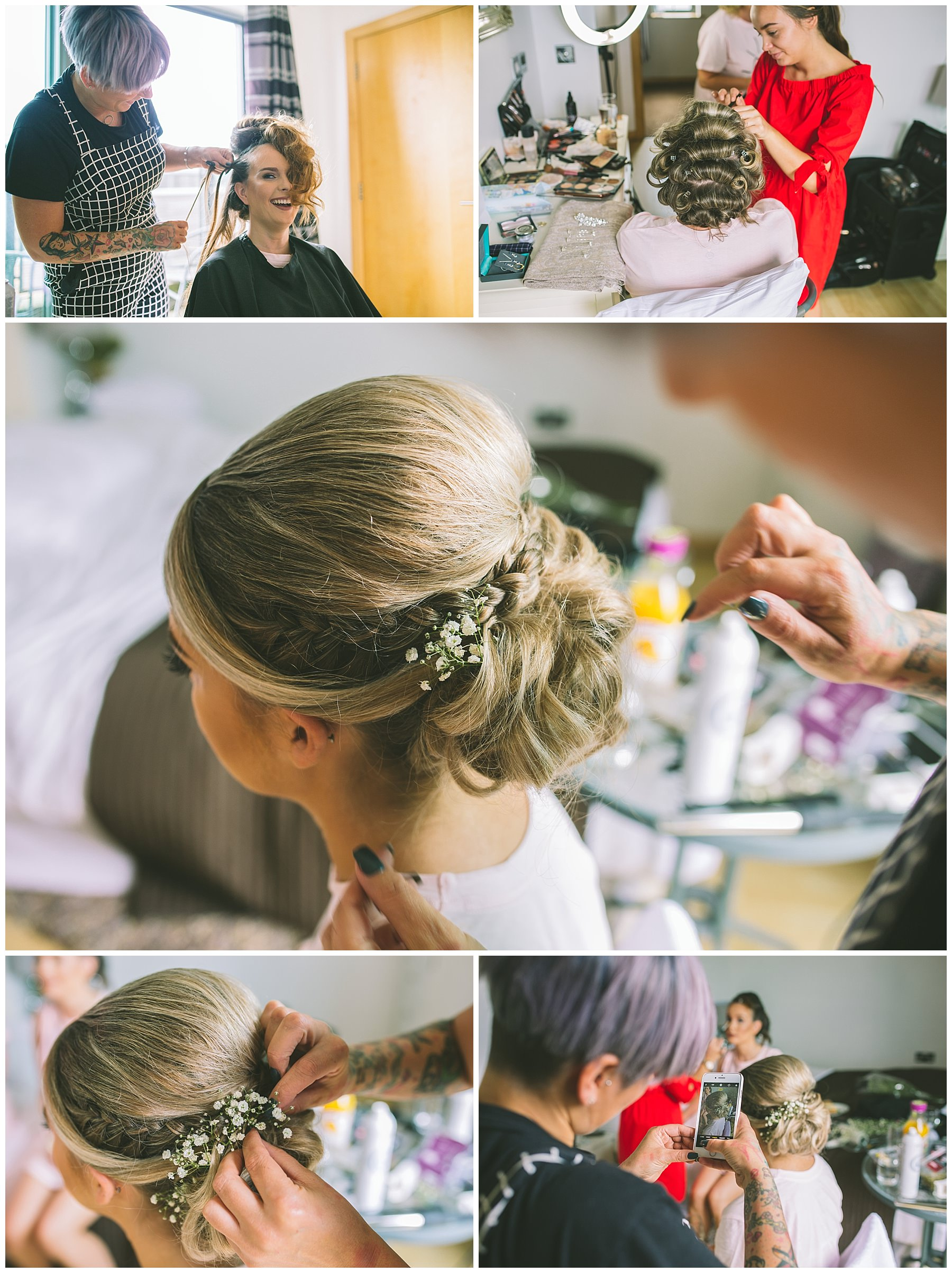 Hair and make up during bridal prep