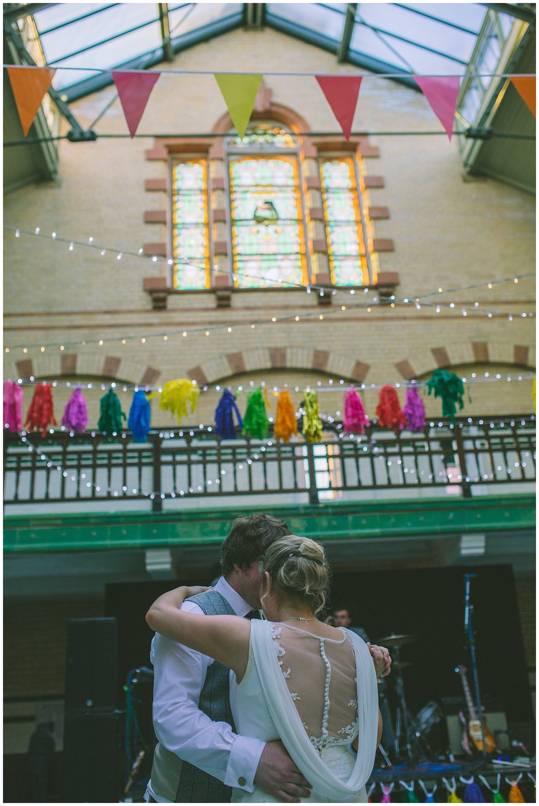 bride and groom share their first dance at Victoria Baths