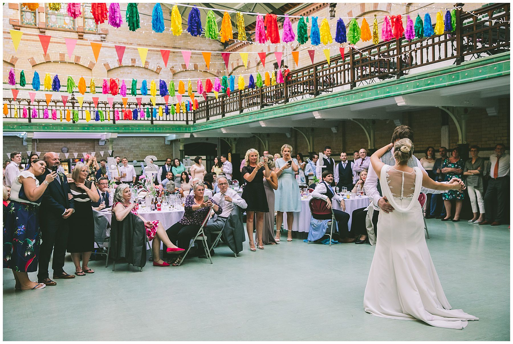 First dance at victoria baths surrounded by friends and family