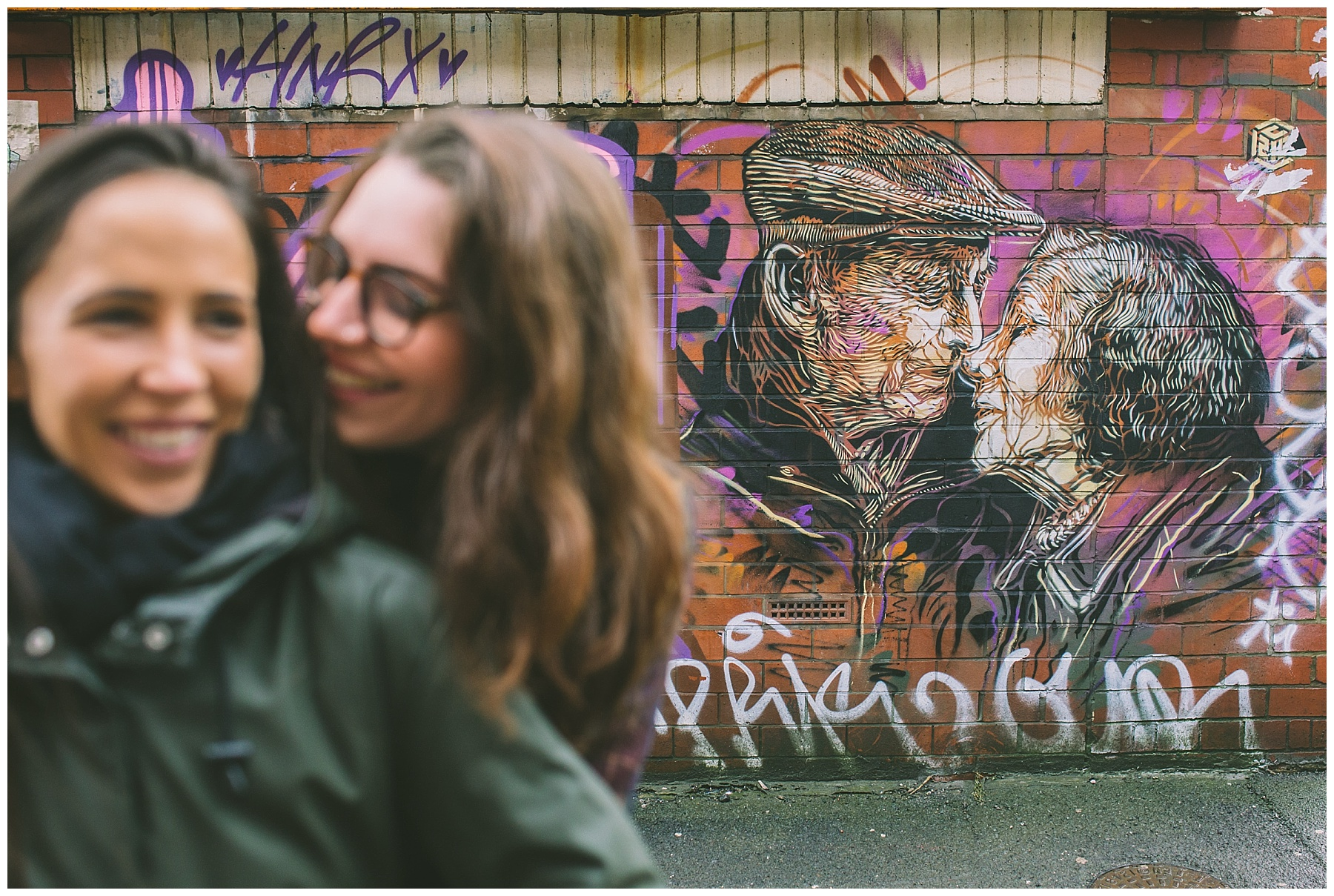 Northern Quarter pre wedding shoot couple imitate graffiti
